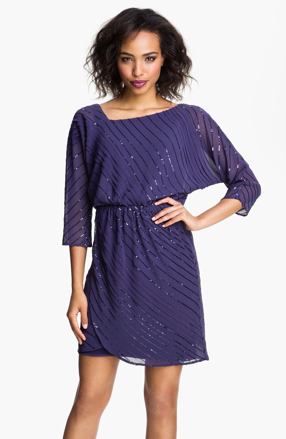 Main Image - Vince Camuto Sequin Stripe Chiffon Dress
