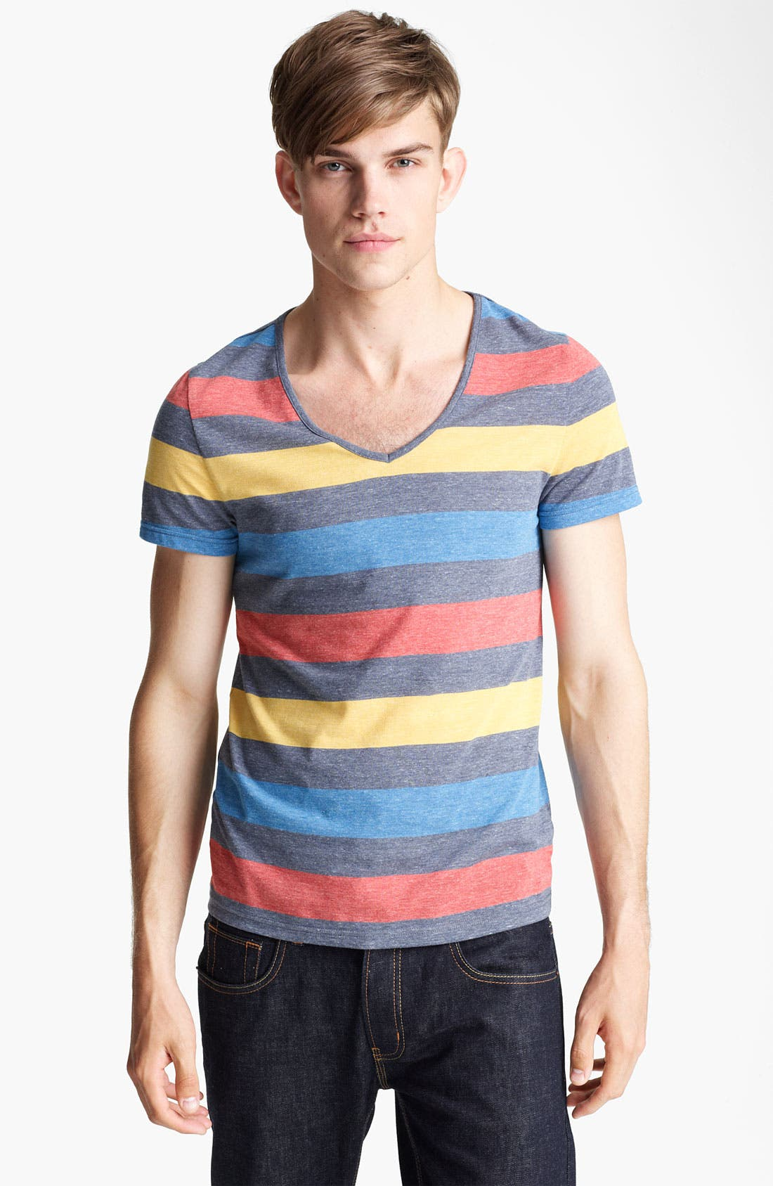 Alternate Image 1 Selected - Topman Rainbow Stripe V-Neck T-Shirt