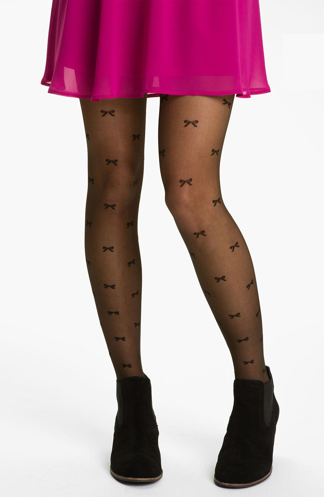 Alternate Image 1 Selected - Frenchi® Bow Print Sheer Tights (Juniors)