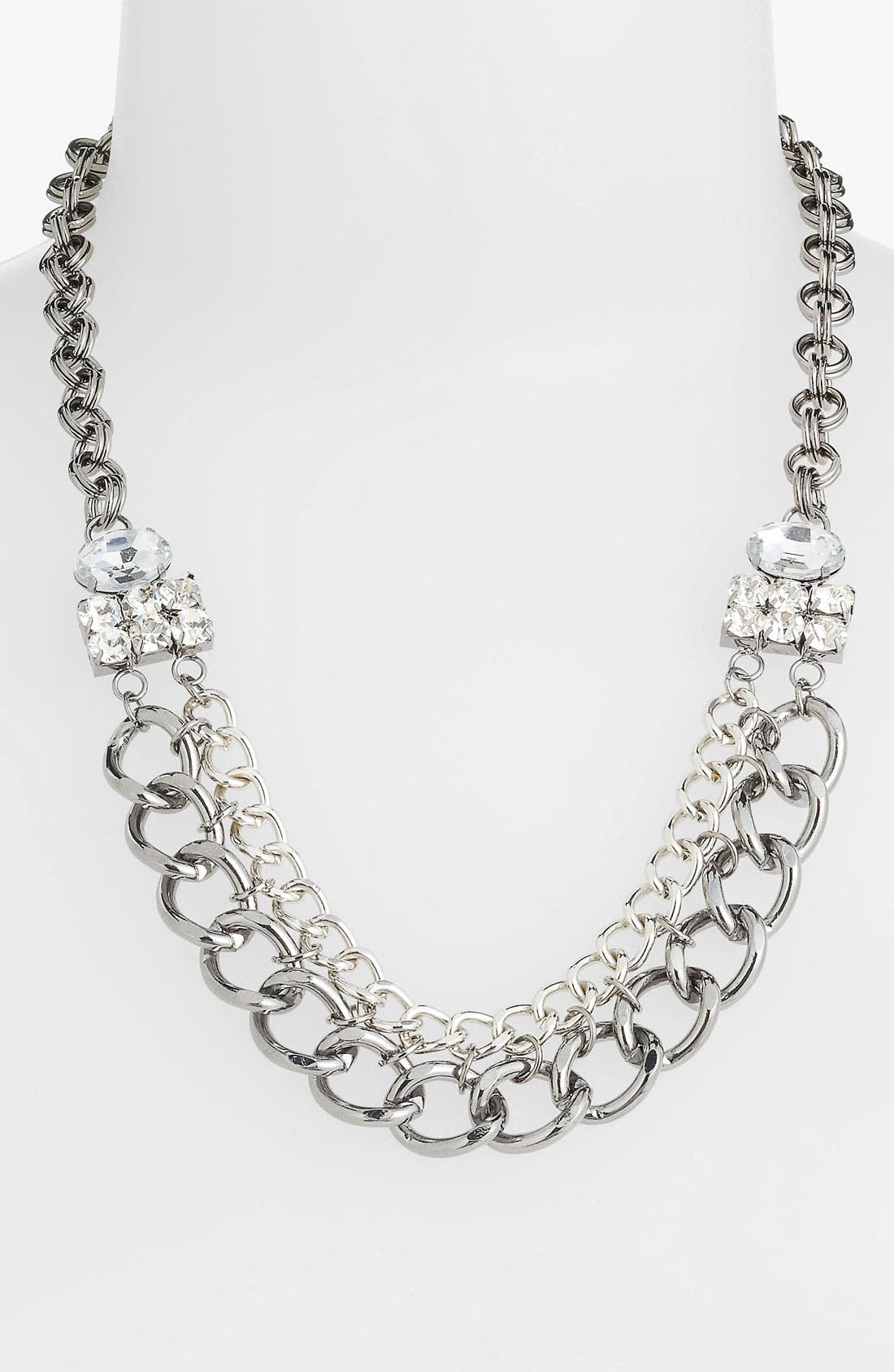 Alternate Image 1 Selected - Stephan & Co. Chain & Rhinestone Statement Necklace