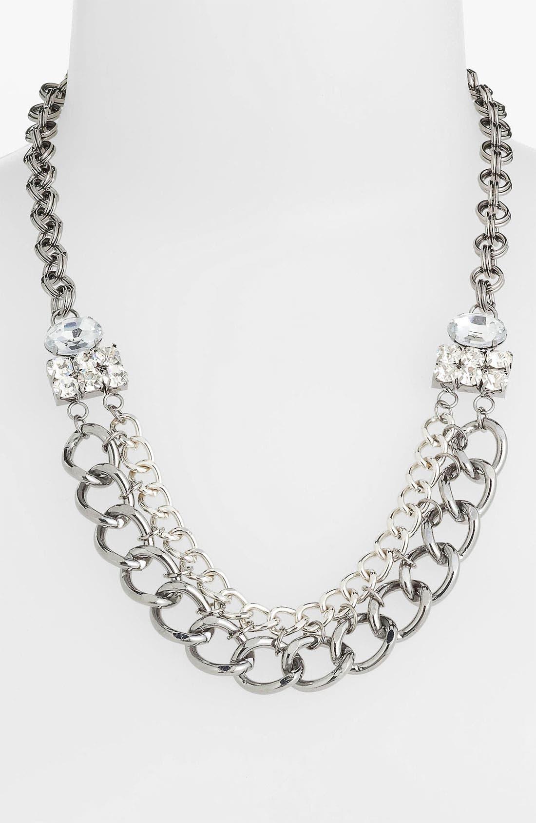 Chain & Rhinestone Statement Necklace,                         Main,                         color, Shiny Silver Hematite