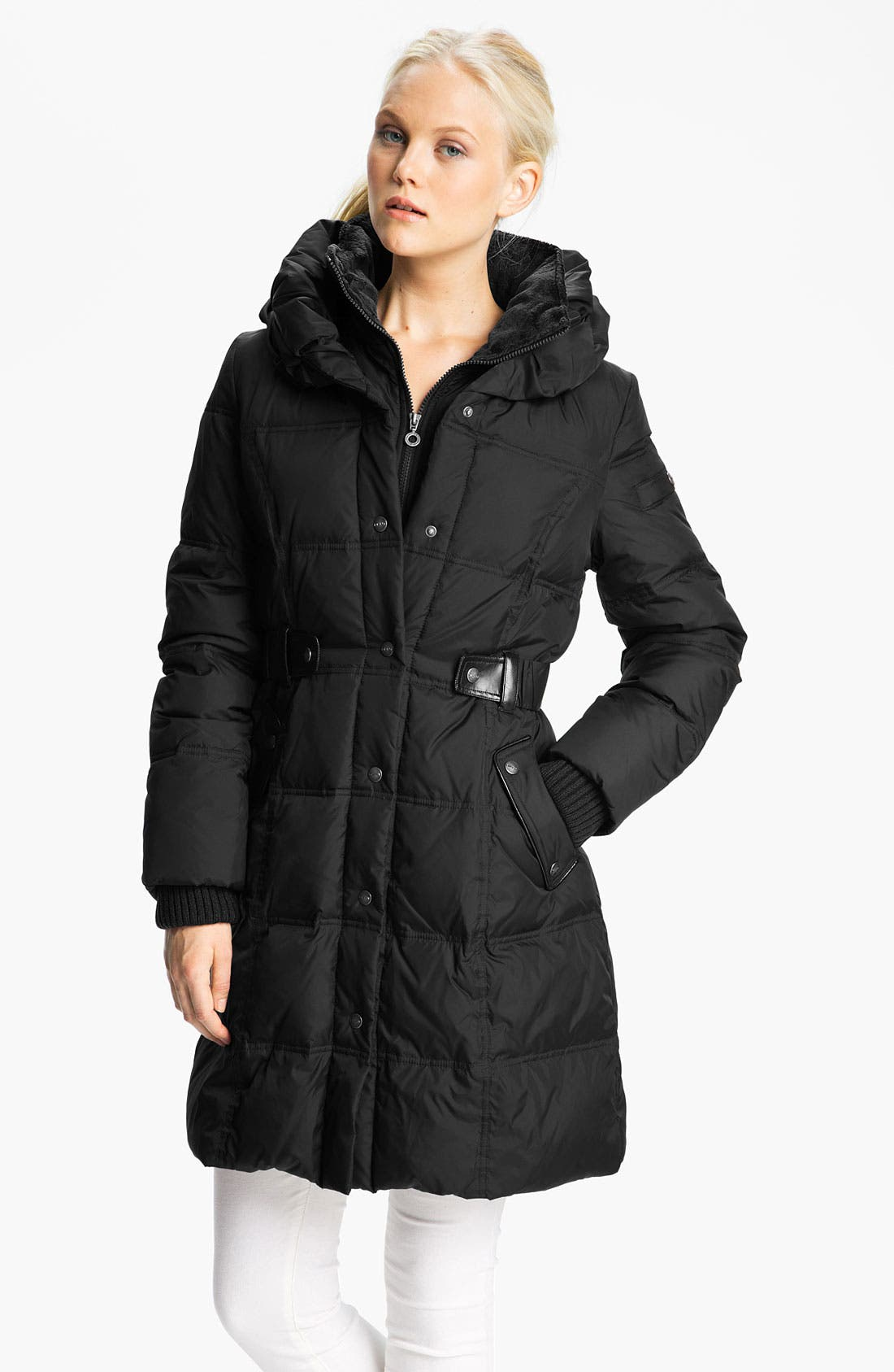 Main Image - DKNY Faux Leather Trim Water Repellent Quilted Coat (Online Exclusive)