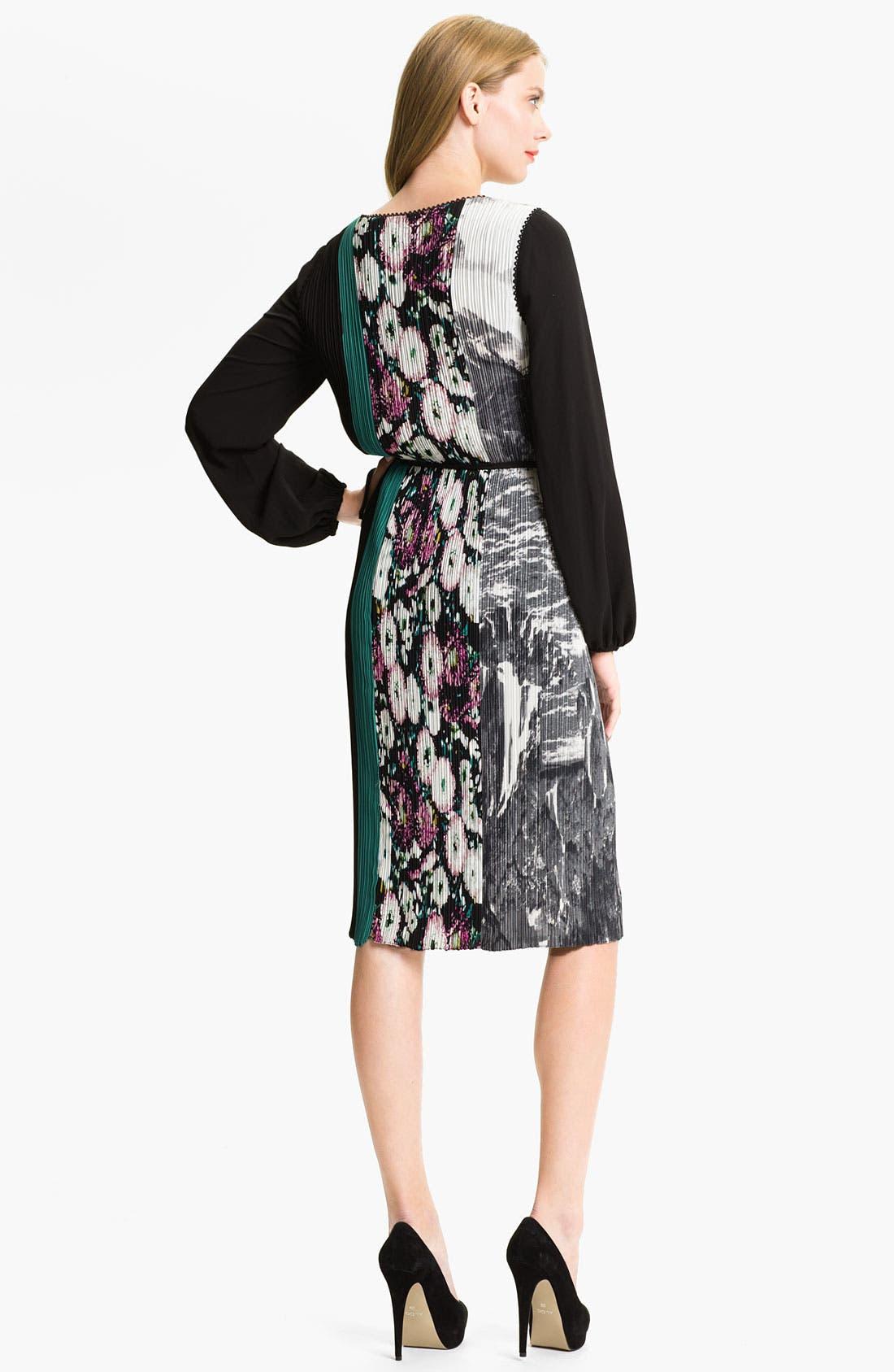 Alternate Image 2  - BCBGMAXAZRIA Mixed Print Pleated Blouson Dress