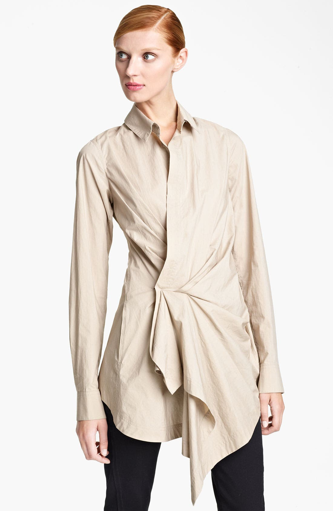 Main Image - Donna Karan Collection Draped Paper Cotton Tunic