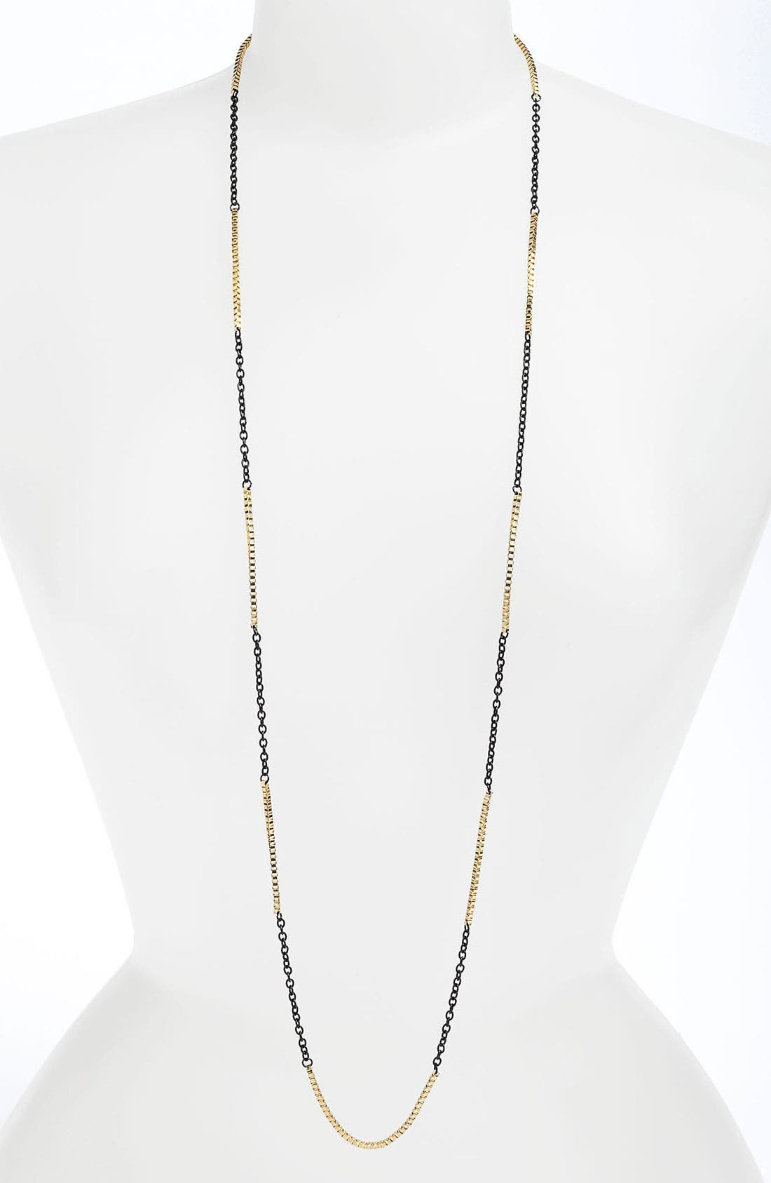 Stephan & Co Mixed Chain Necklace,                         Main,                         color, Black And Shiny Gold