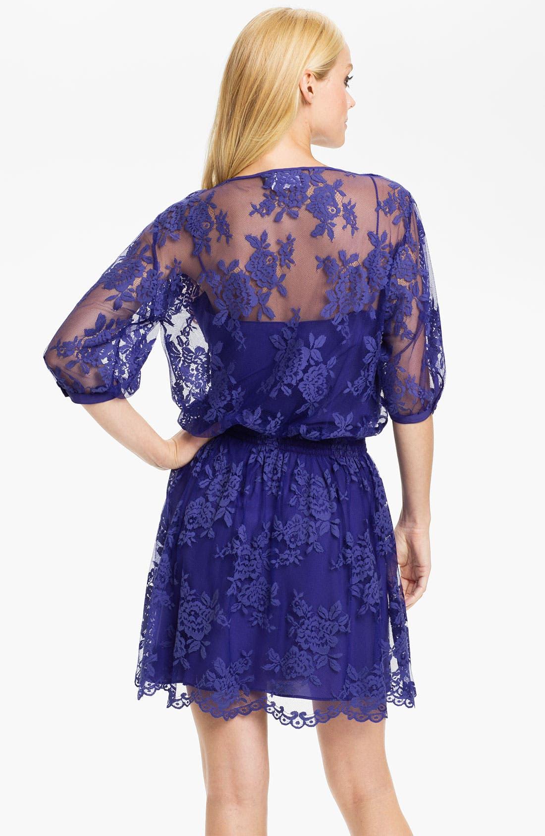 Alternate Image 2  - Nicole Miller Lace Overlay Blouson Dress