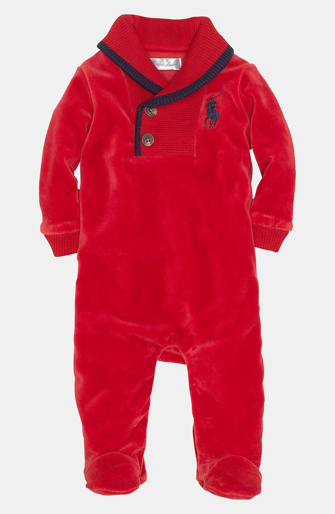 Alternate Image 1 Selected - Ralph Lauren Velour Footie (Infant)