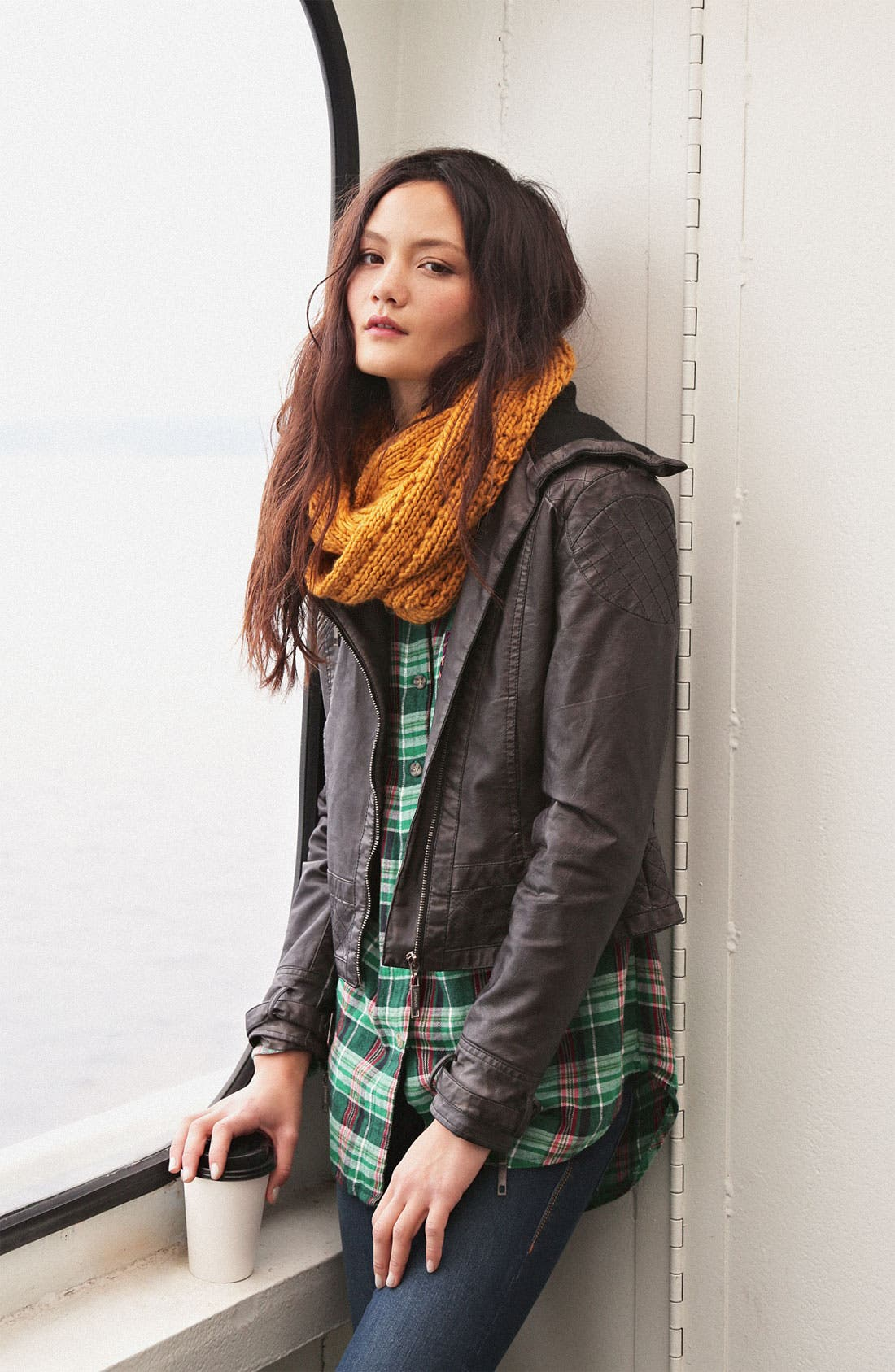 Alternate Image 5  - Jou Jou Knit Collar Moto Jacket (Juniors)