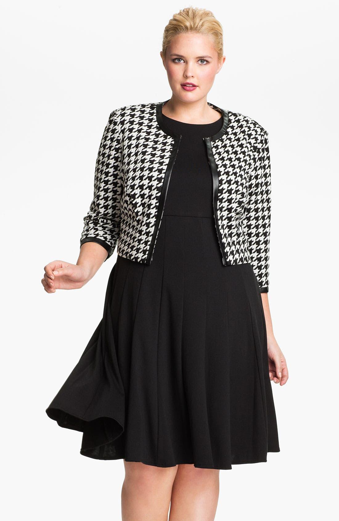 Main Image - Eliza J Pleated Dress & Bolero Jacket (Plus Size)