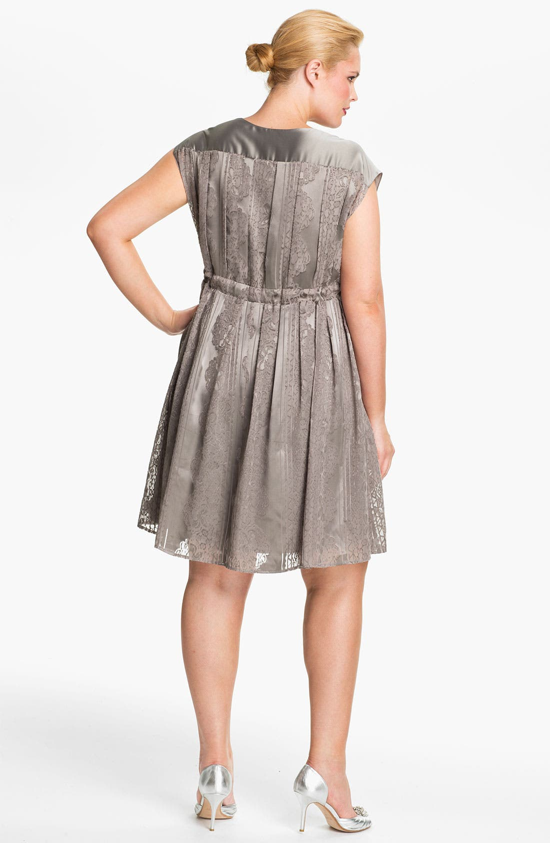 Alternate Image 2  - Jessica Simpson Lace Print Satin Dress (Plus)