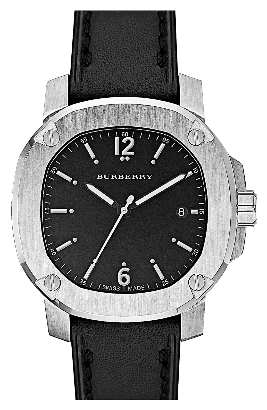 Alternate Image 1 Selected - Burberry The Britain Leather Strap Watch