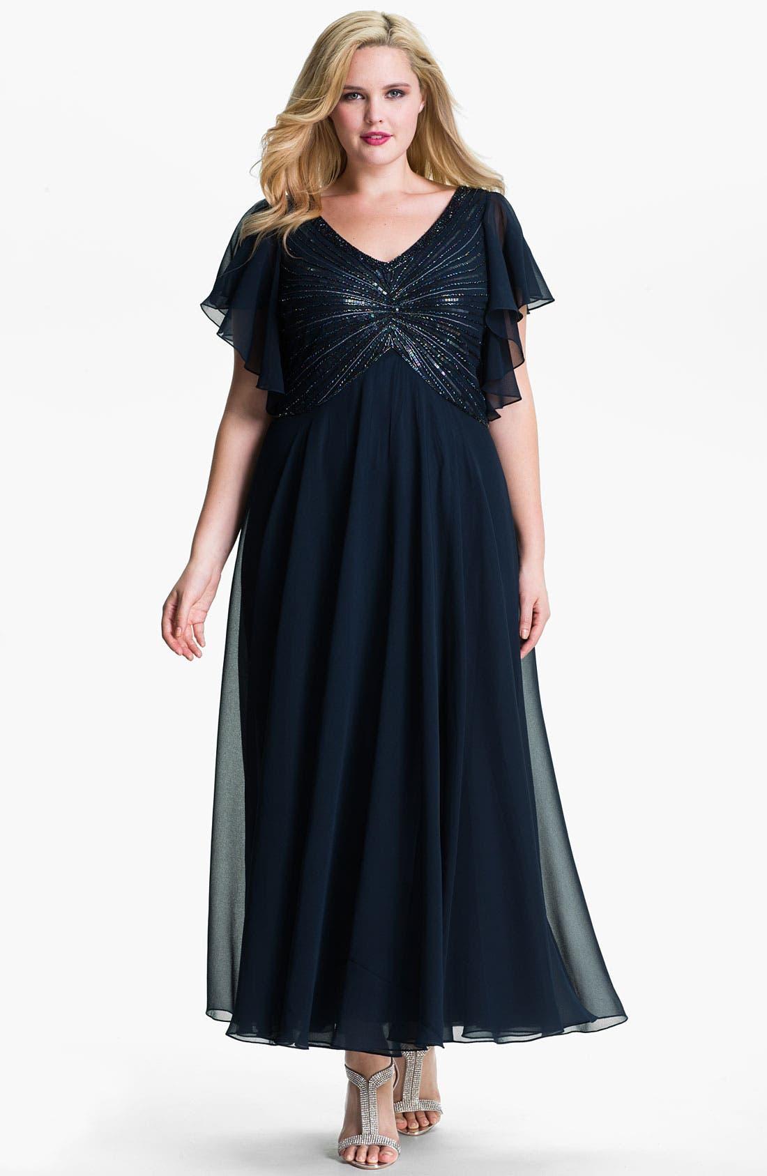 Main Image - J Kara V-Neck Sequin Bodice Dress (Plus)