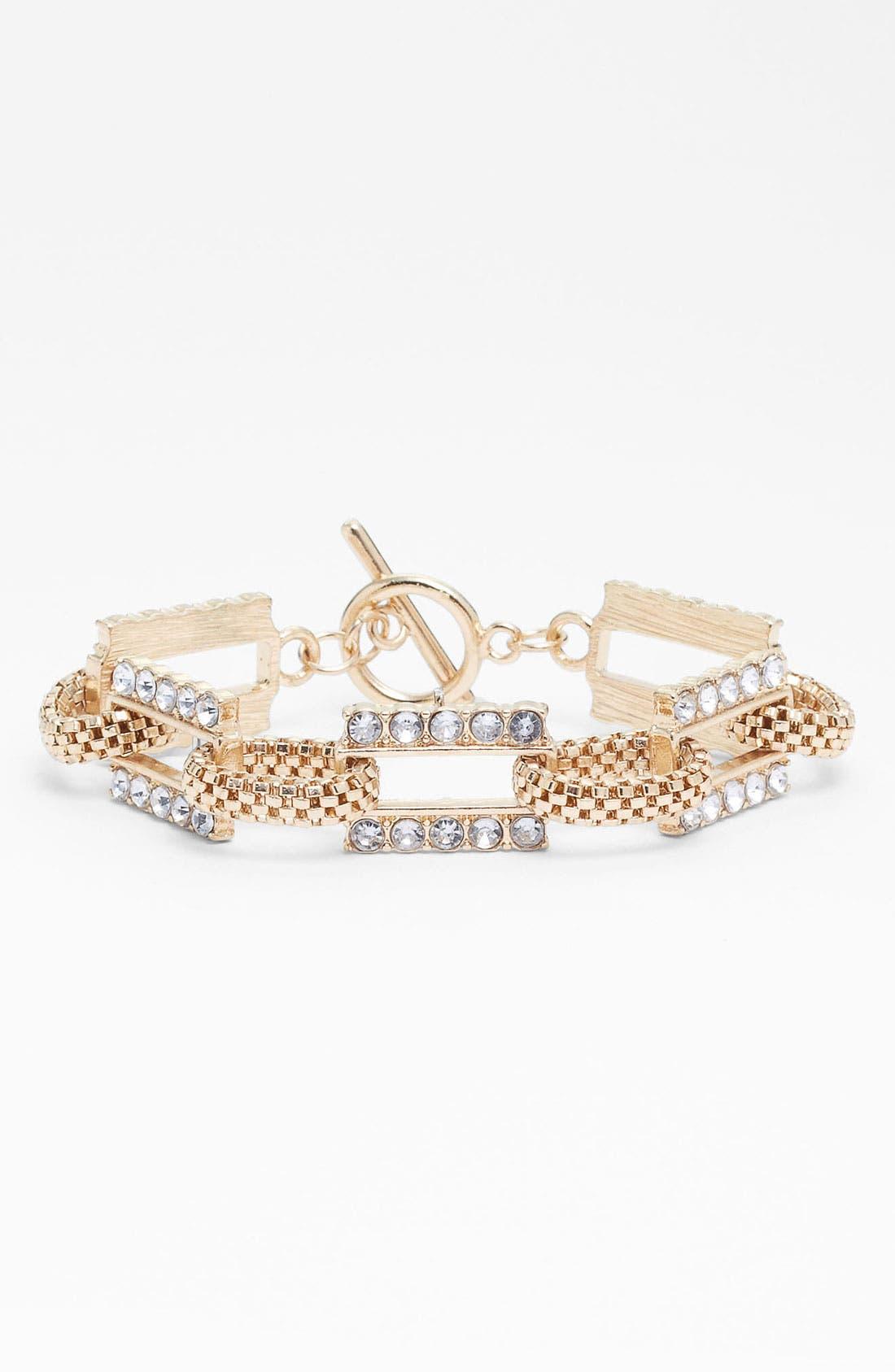 Main Image - Carole Rhinestone & Chain Link Bracelet