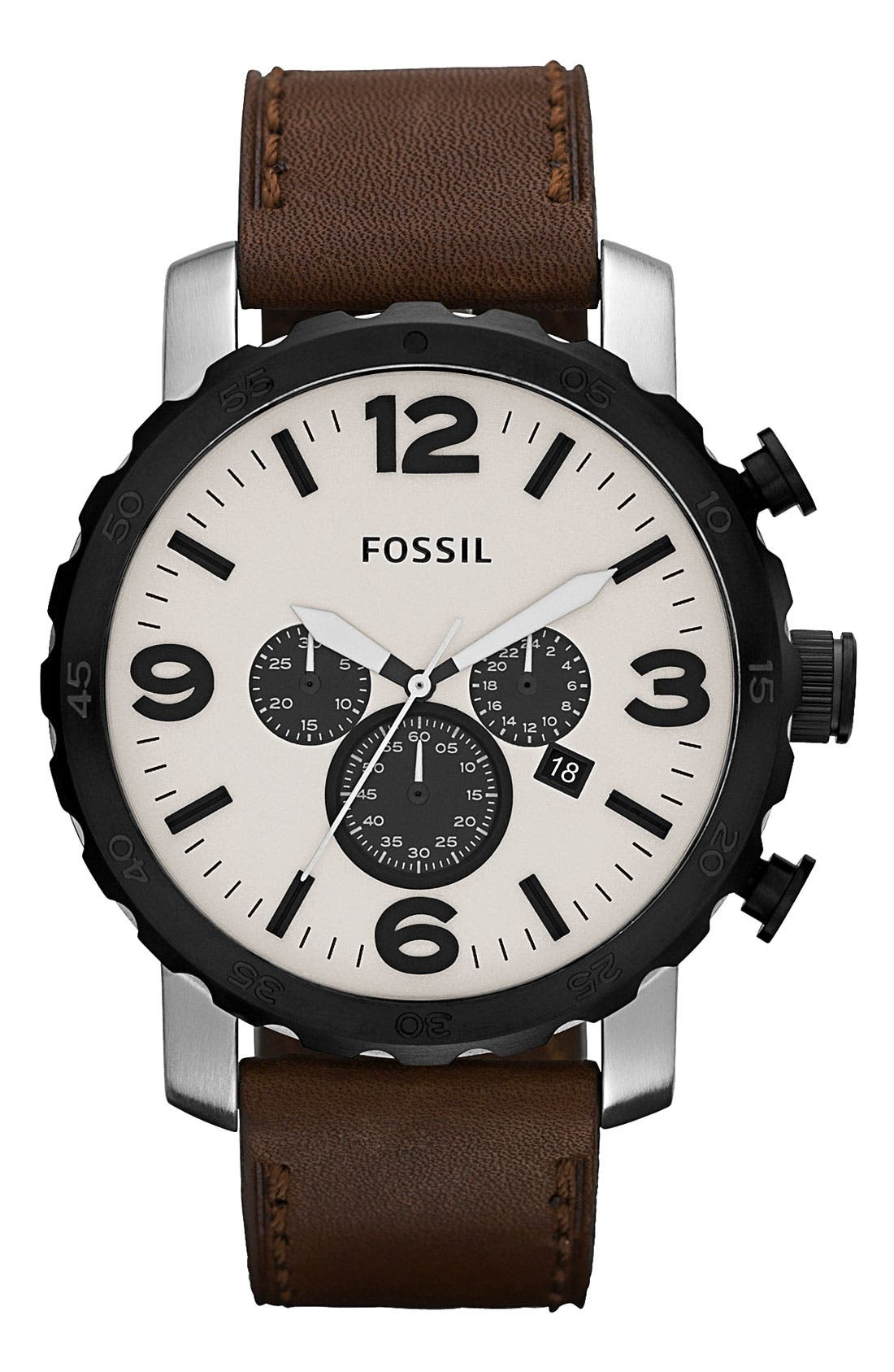 Main Image - Fossil 'Nate' Chronograph Leather Strap Watch, 50mm