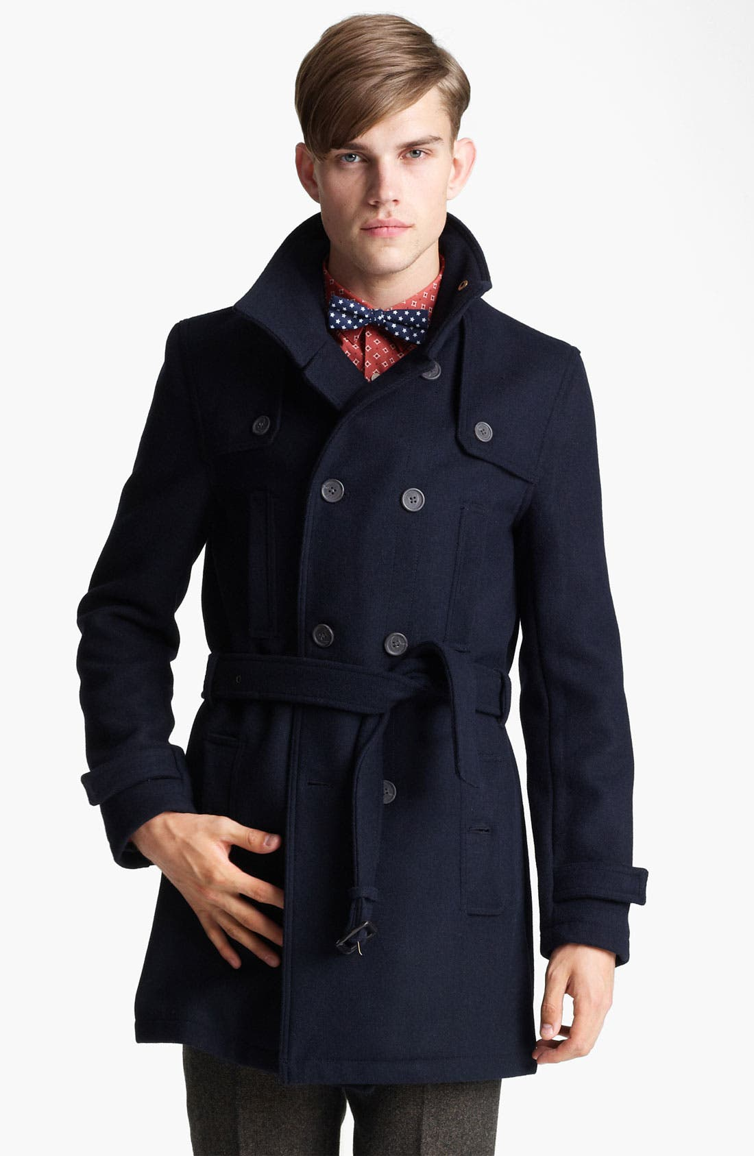 Alternate Image 1 Selected - Topman Funnel Neck Trench Coat