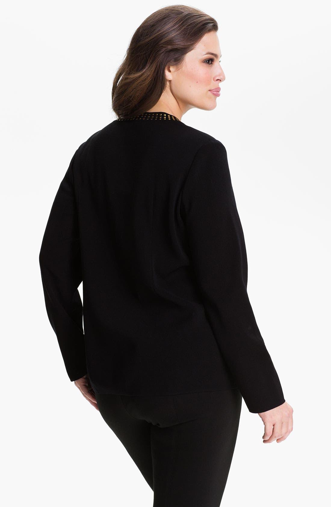 Alternate Image 2  - Exclusively Misook Studded Jewel Neck Jacket (Plus)