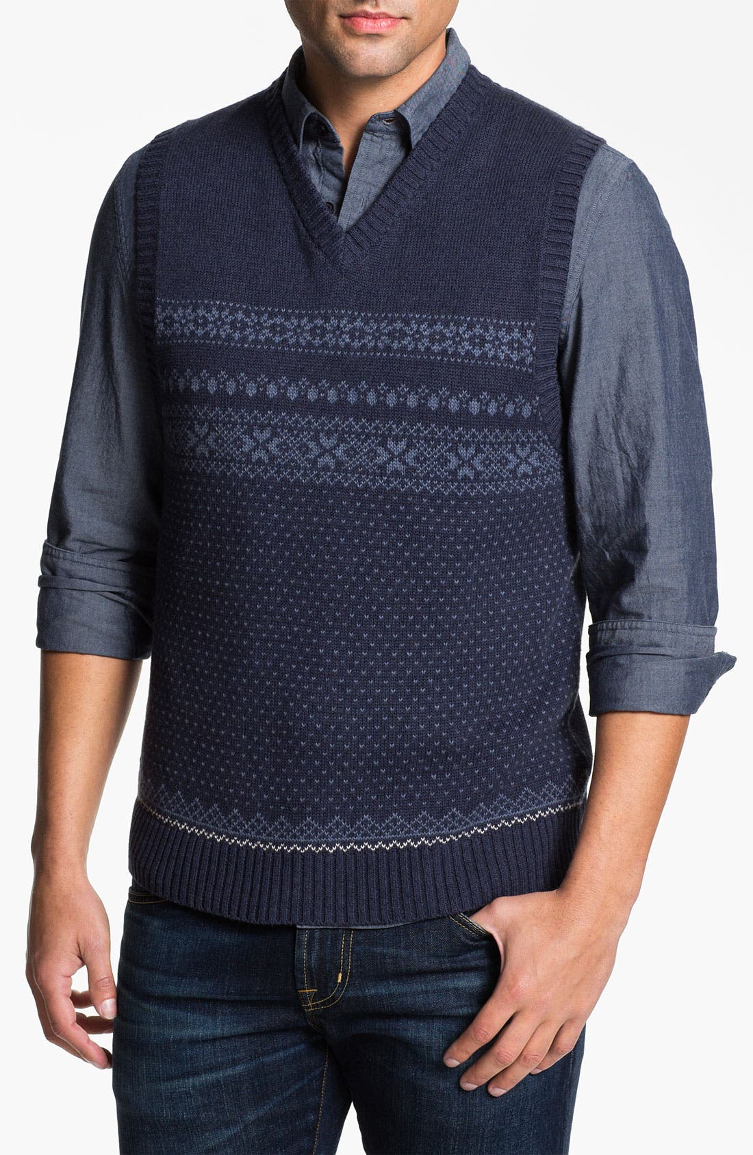 Main Image - Wallin & Bros. Fair Isle V-Neck Sweater Vest
