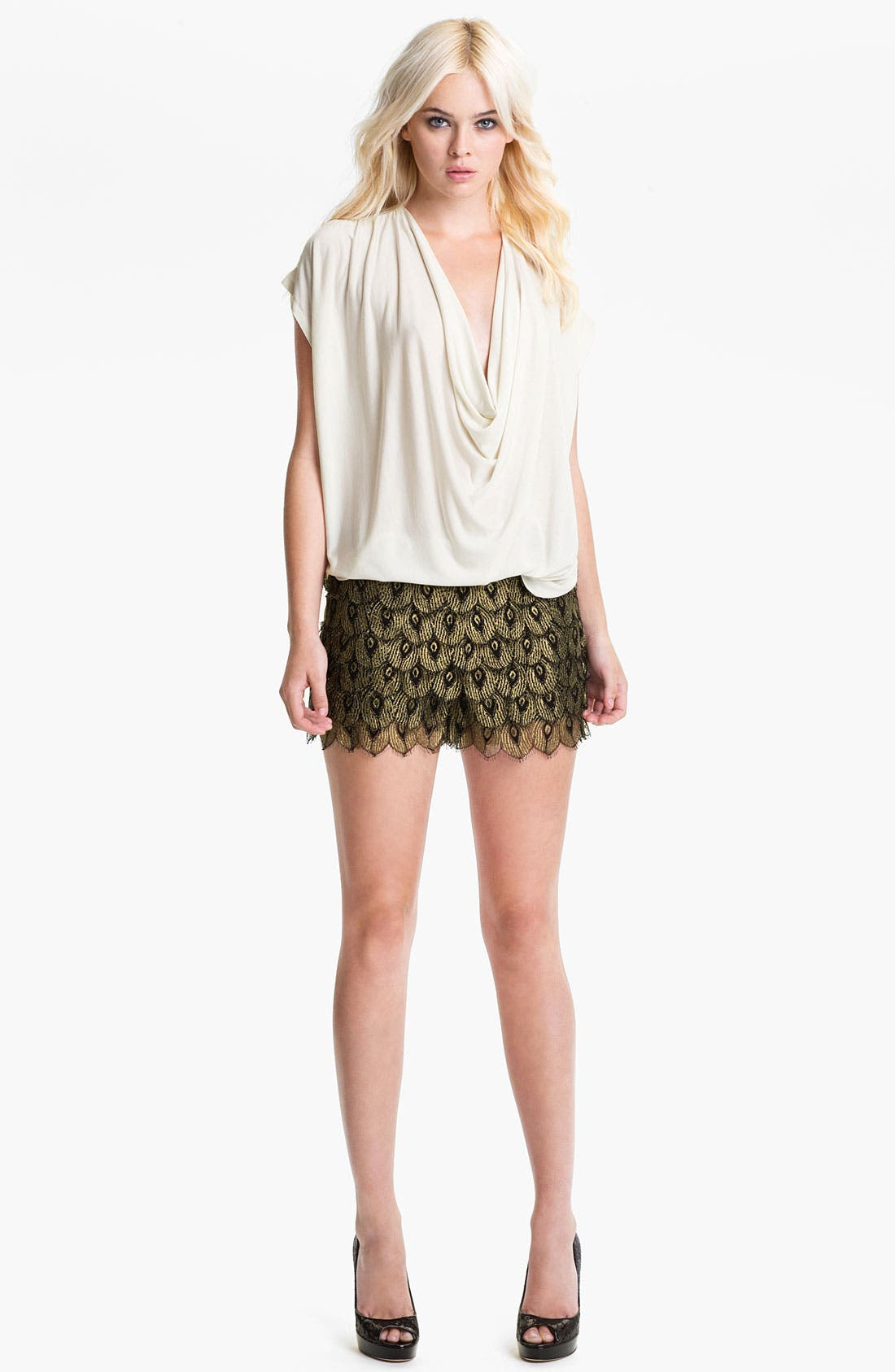 Alternate Image 4  - Haute Hippie 'Gilded Peacock' Lace Shorts