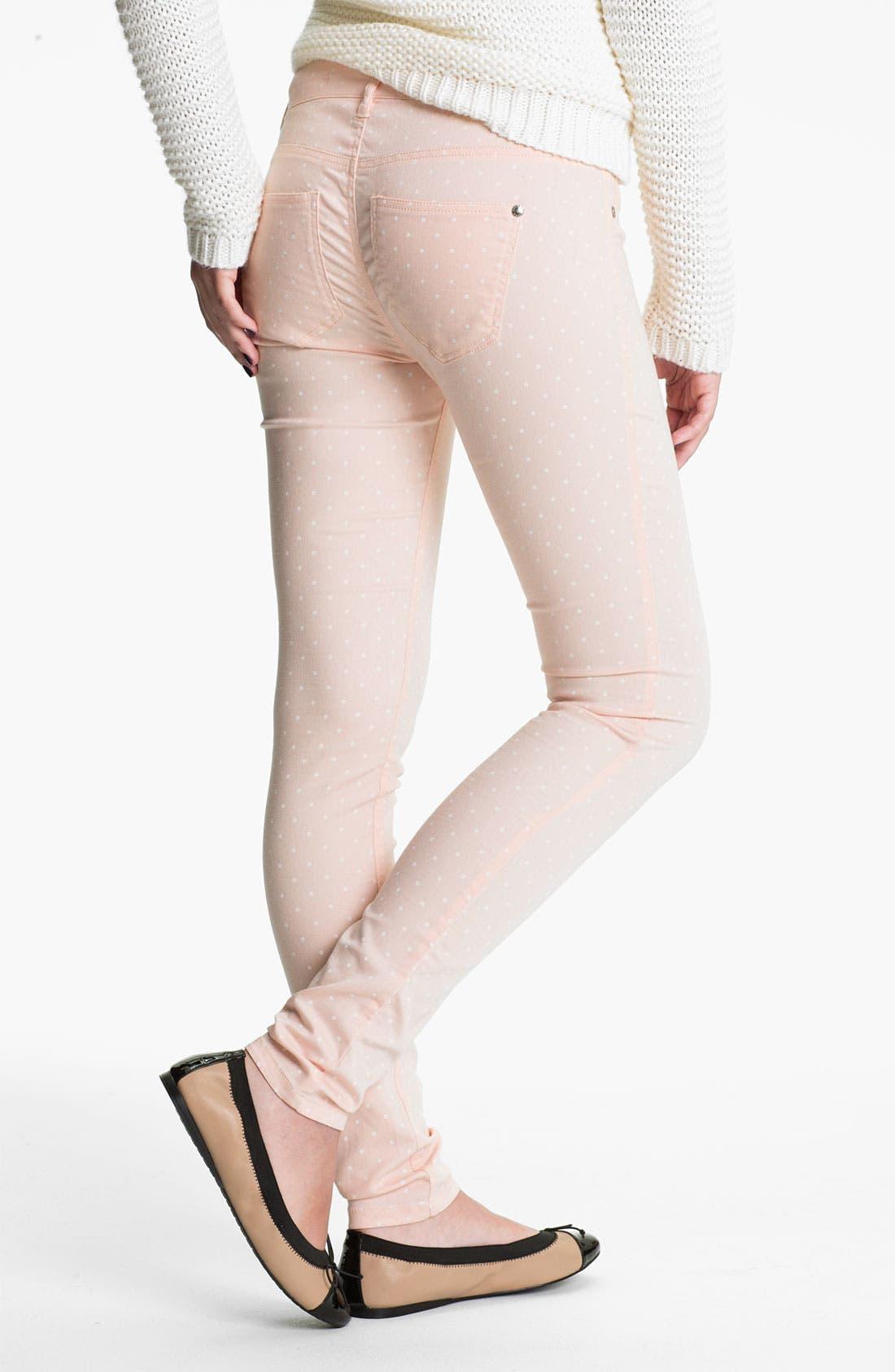 Main Image - Fire Polka Dot Skinny Jeans (Juniors)