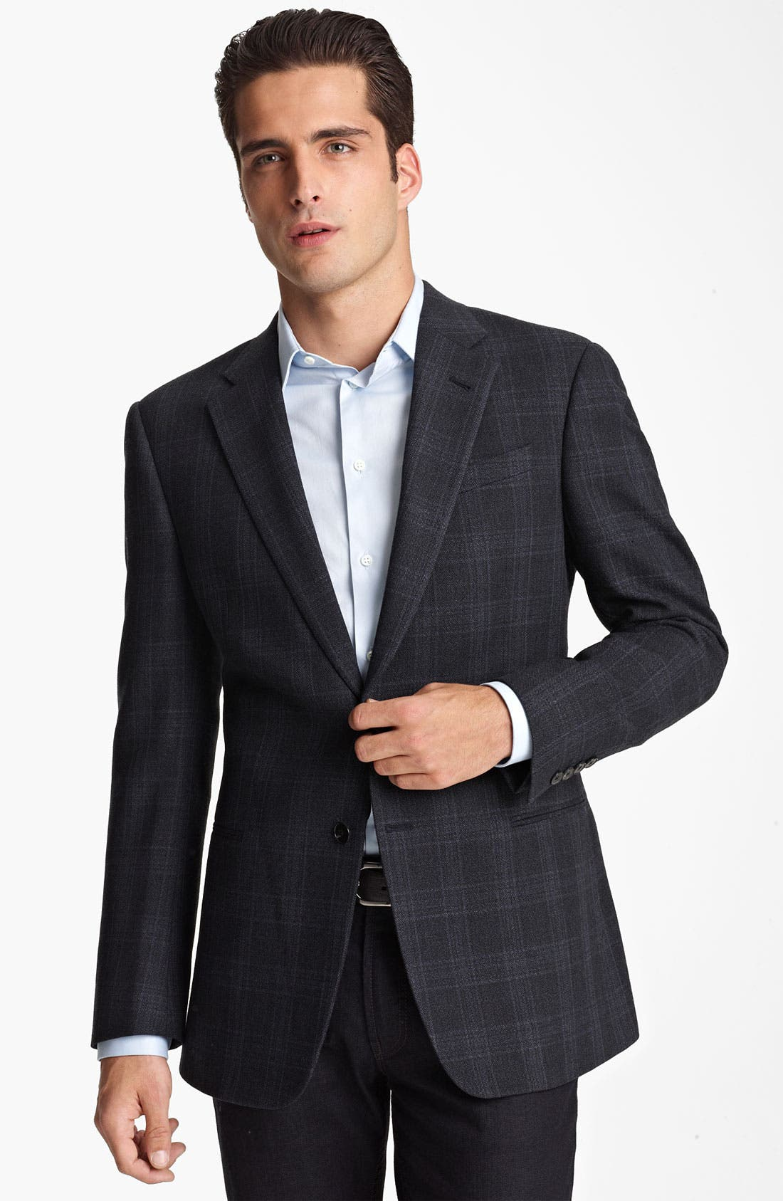 Alternate Image 1 Selected - Armani Collezioni 'Giorgio' Trim Fit Plaid Blazer
