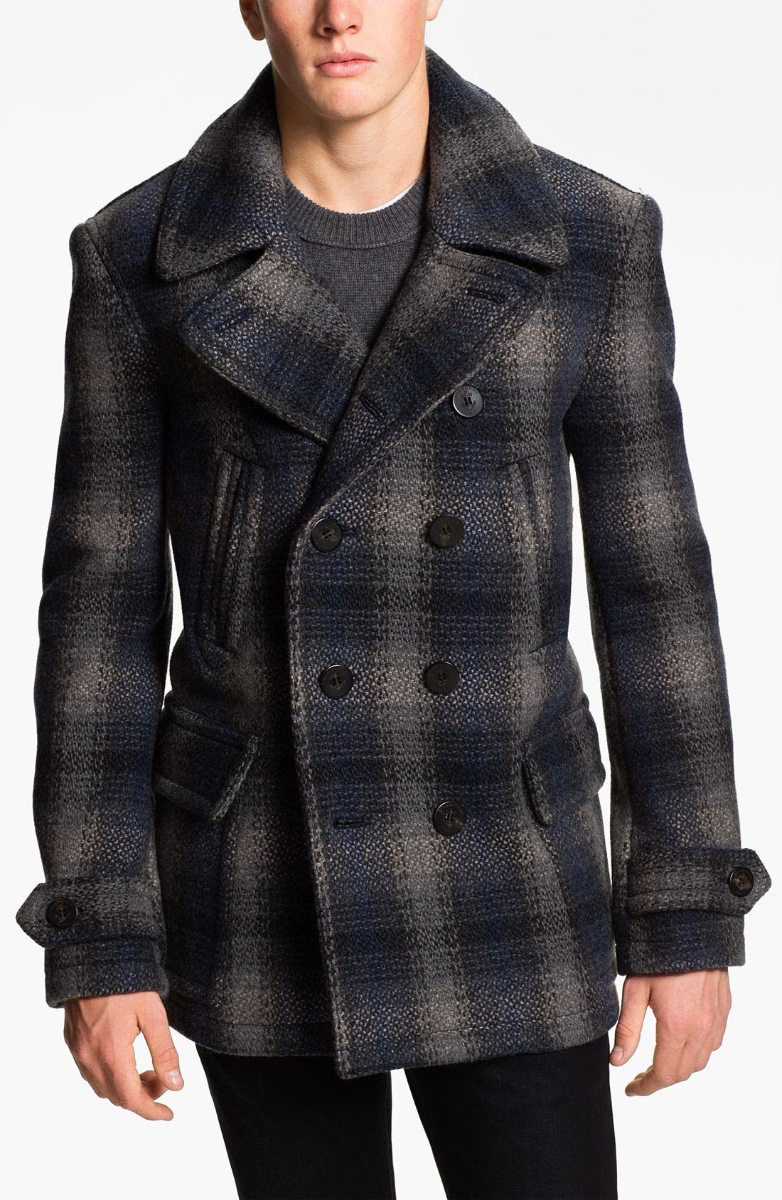Alternate Image 1 Selected - Burberry Brit Double Breasted Wool Blend Coat