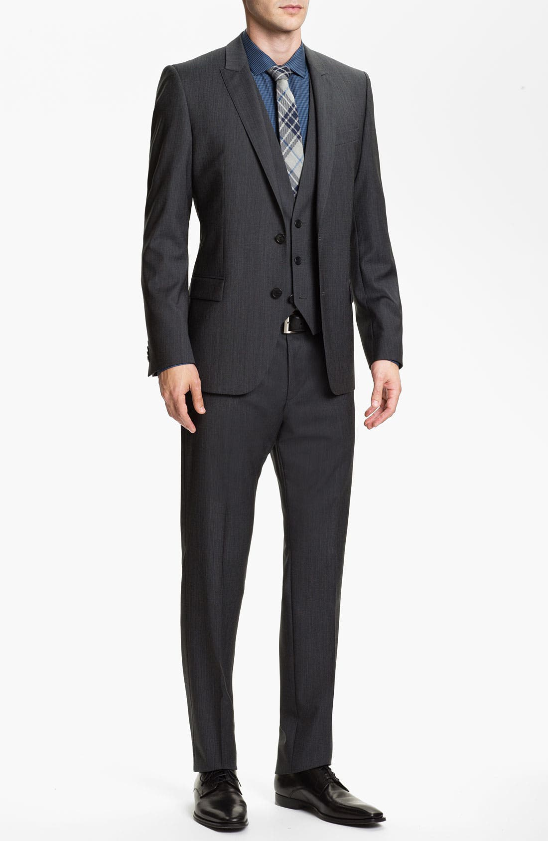 Alternate Image 1 Selected - HUGO 'Abaro/Wior/Hedit' Trim Fit Three Piece Suit