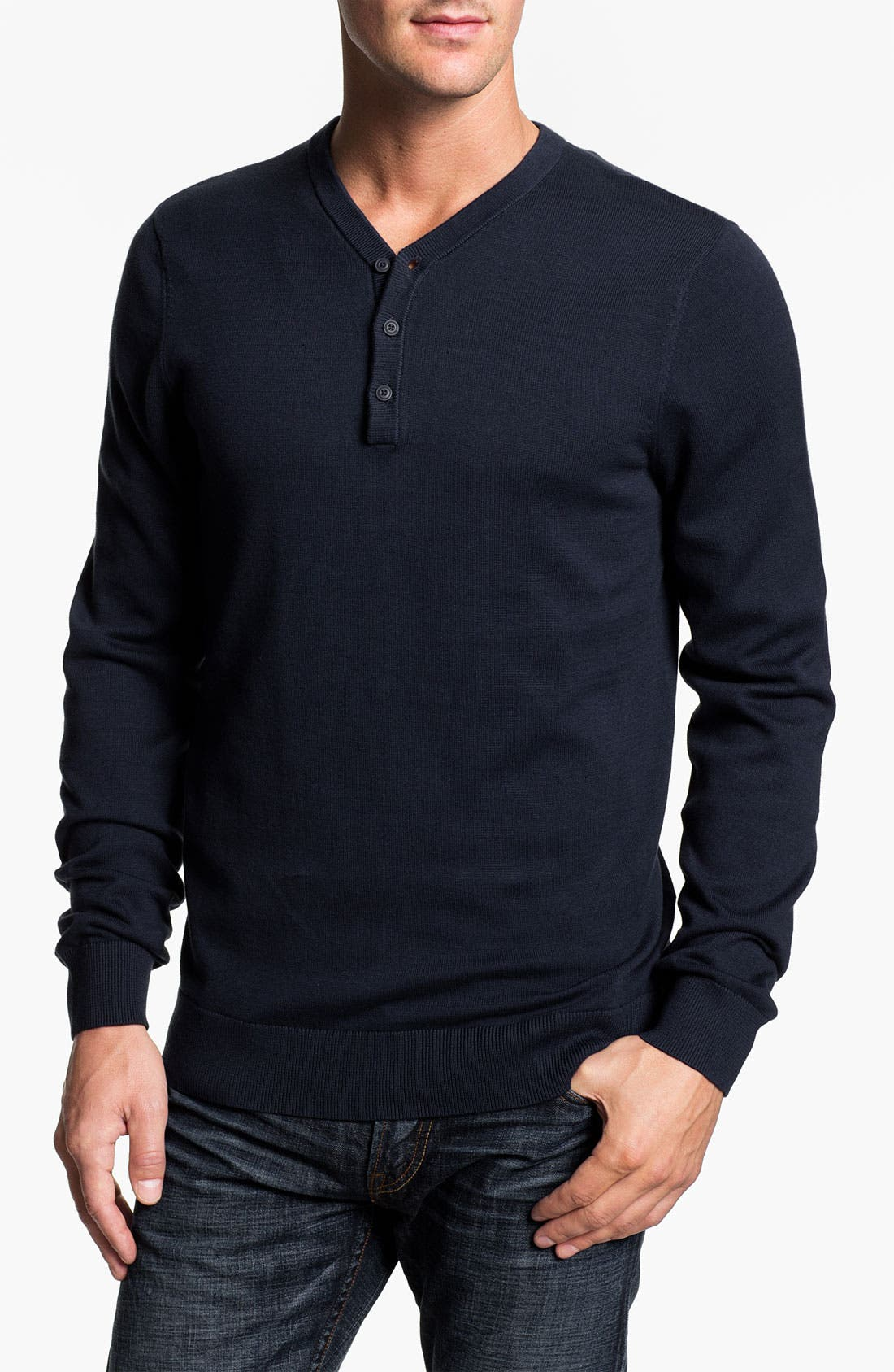 Main Image - Public Opinion Y-Neck Henley Sweater