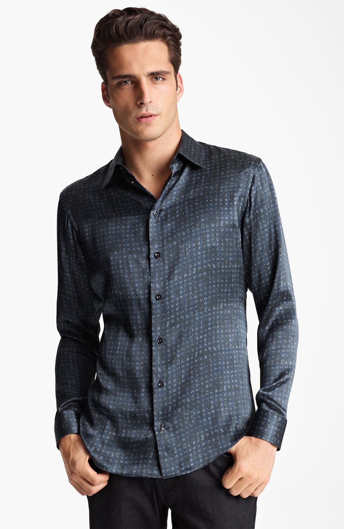 Main Image - Armani Collezioni Silk Dot Sport Shirt