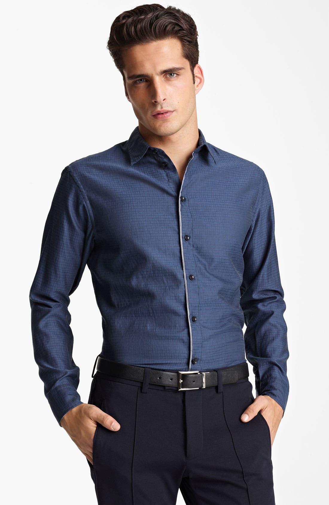 Alternate Image 1 Selected - Armani Collezioni Cotton Blend Sport Shirt