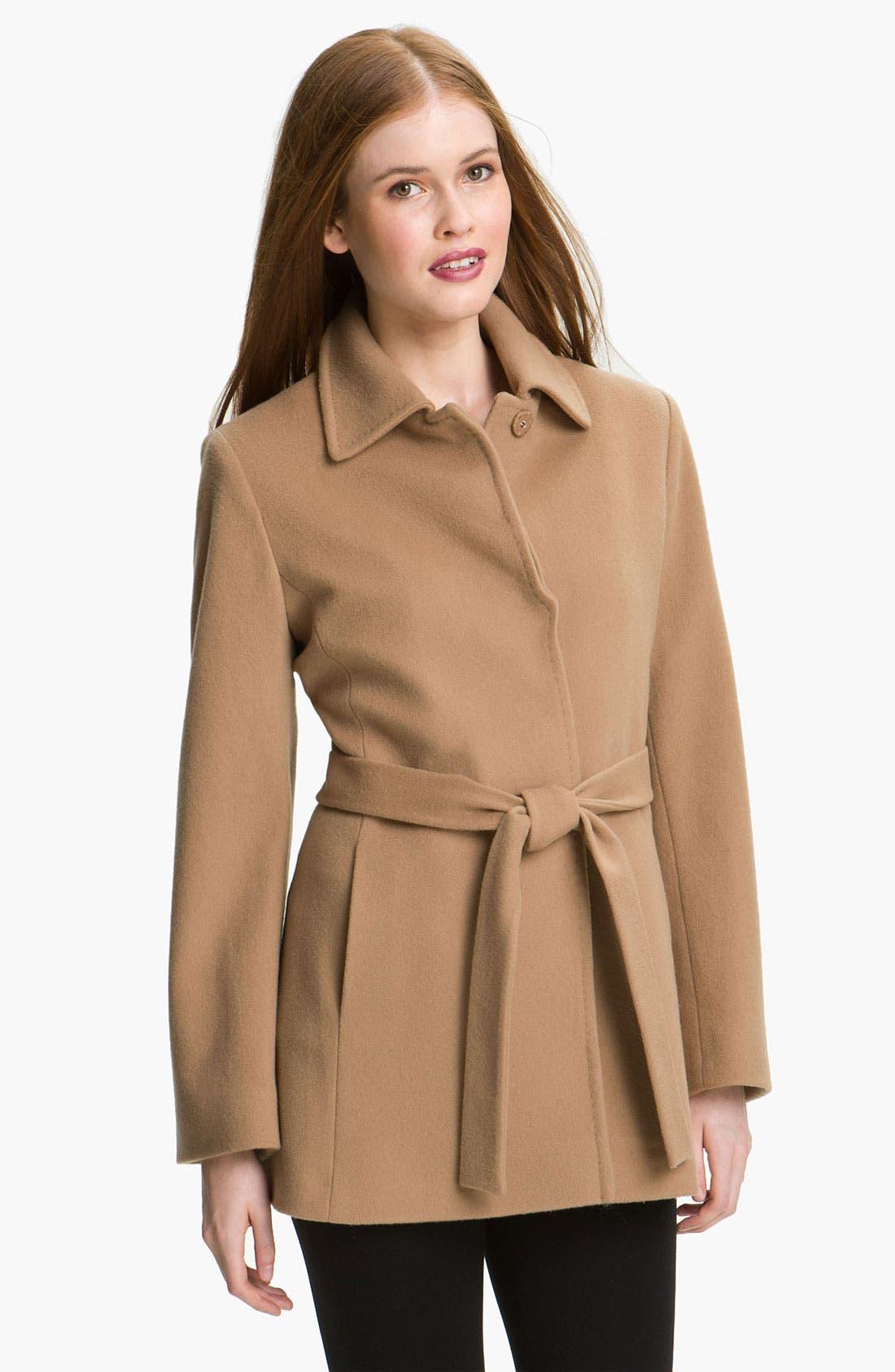 Main Image - Fleurette Short Loro Piana Wool Wrap Coat (Petite)