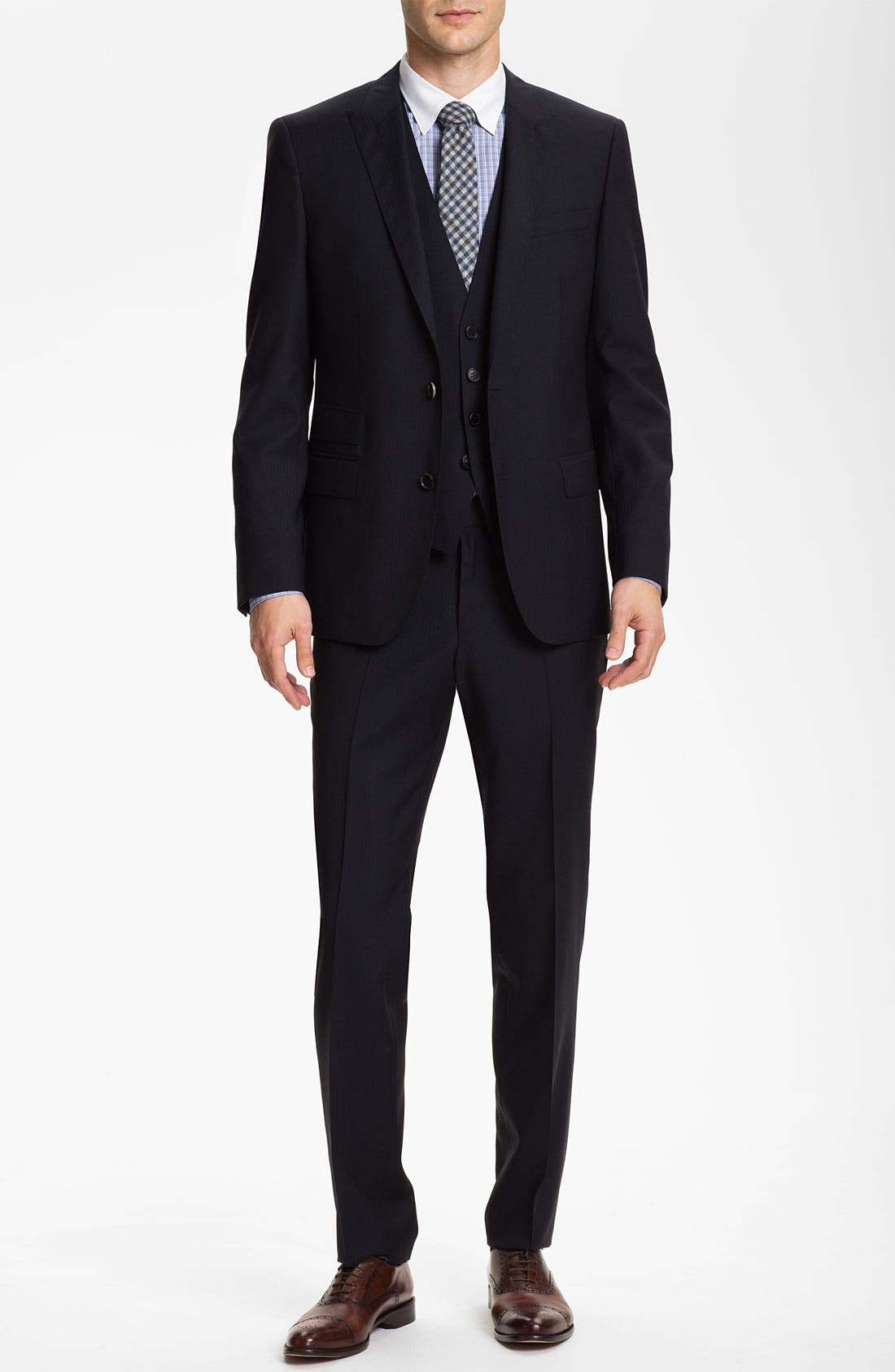 Alternate Image 2  - BOSS Black 'Hold/Genius' Trim Fit Three Piece Suit