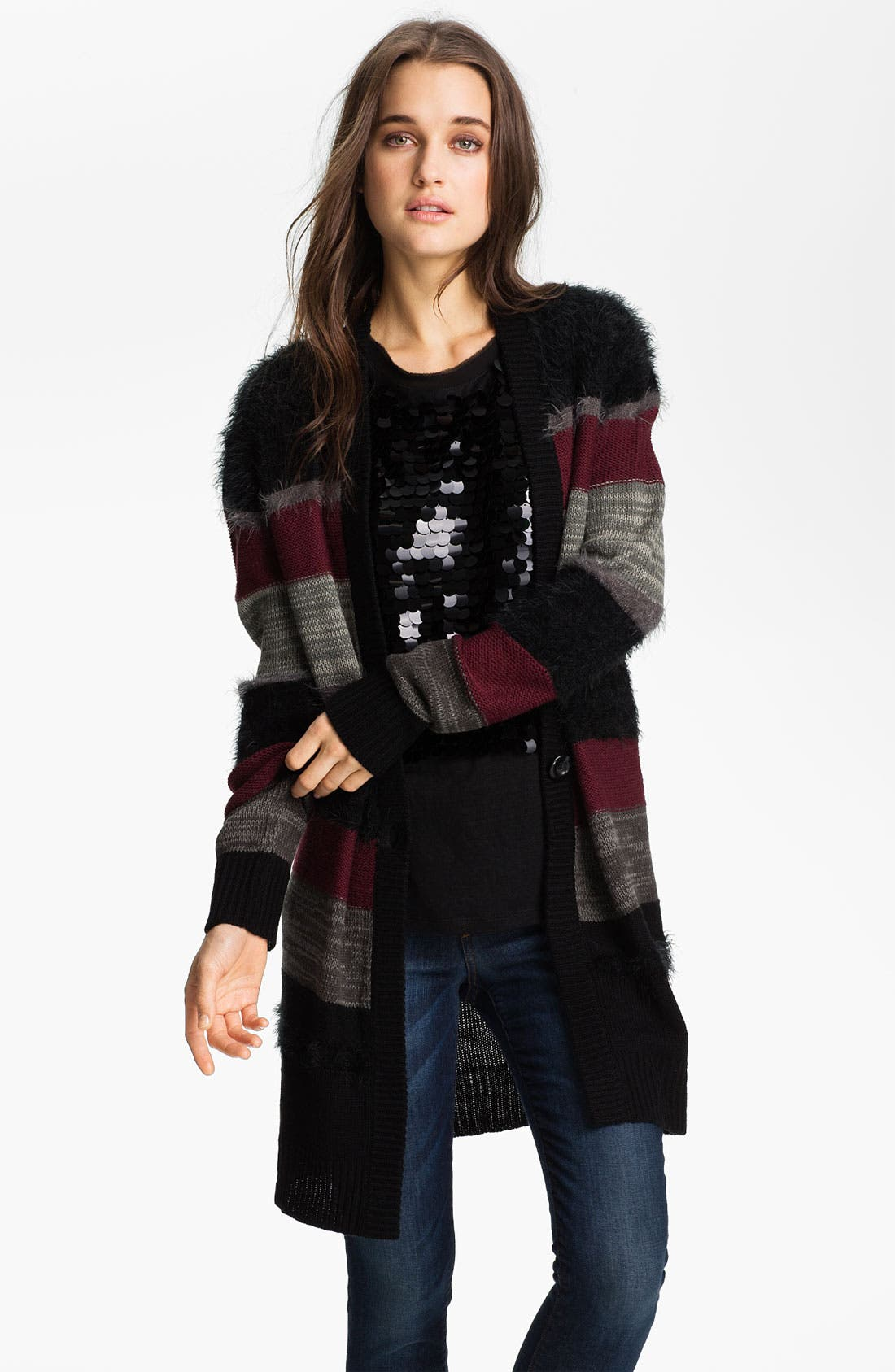 Main Image - Trouvé Mix Knit Stripe Cardigan