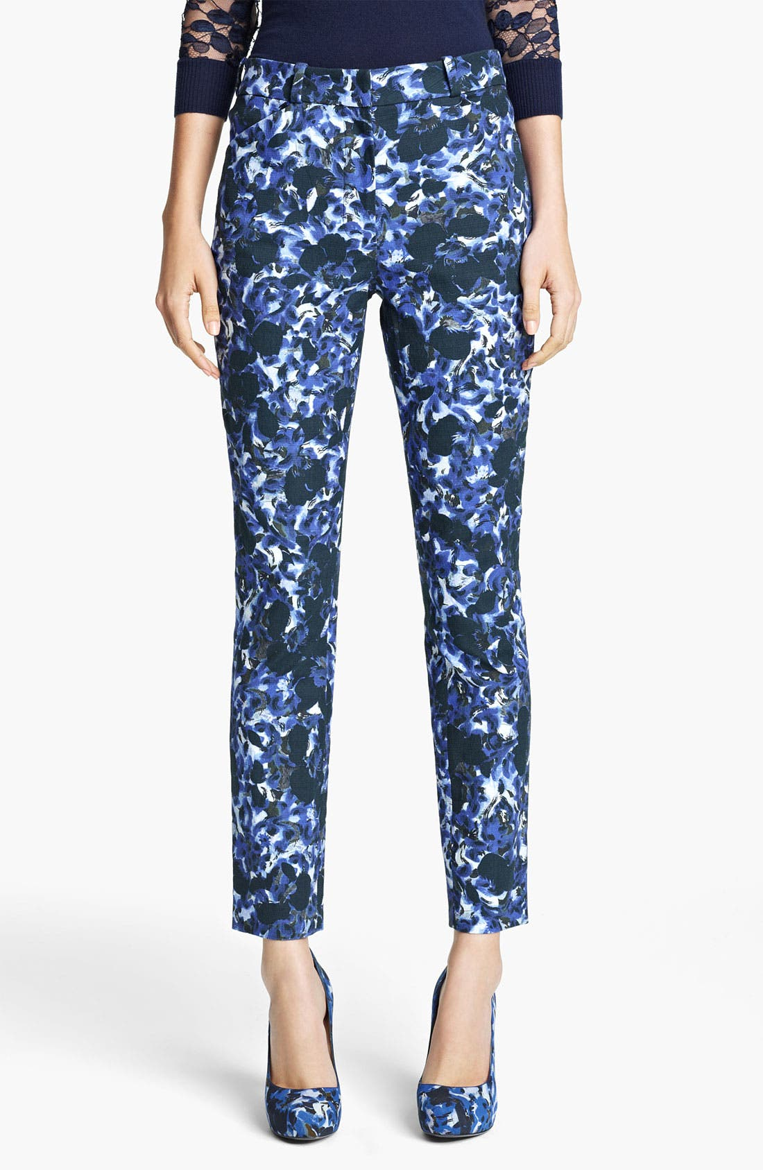 Alternate Image 1 Selected - Erdem Swirl Print Slim Pants