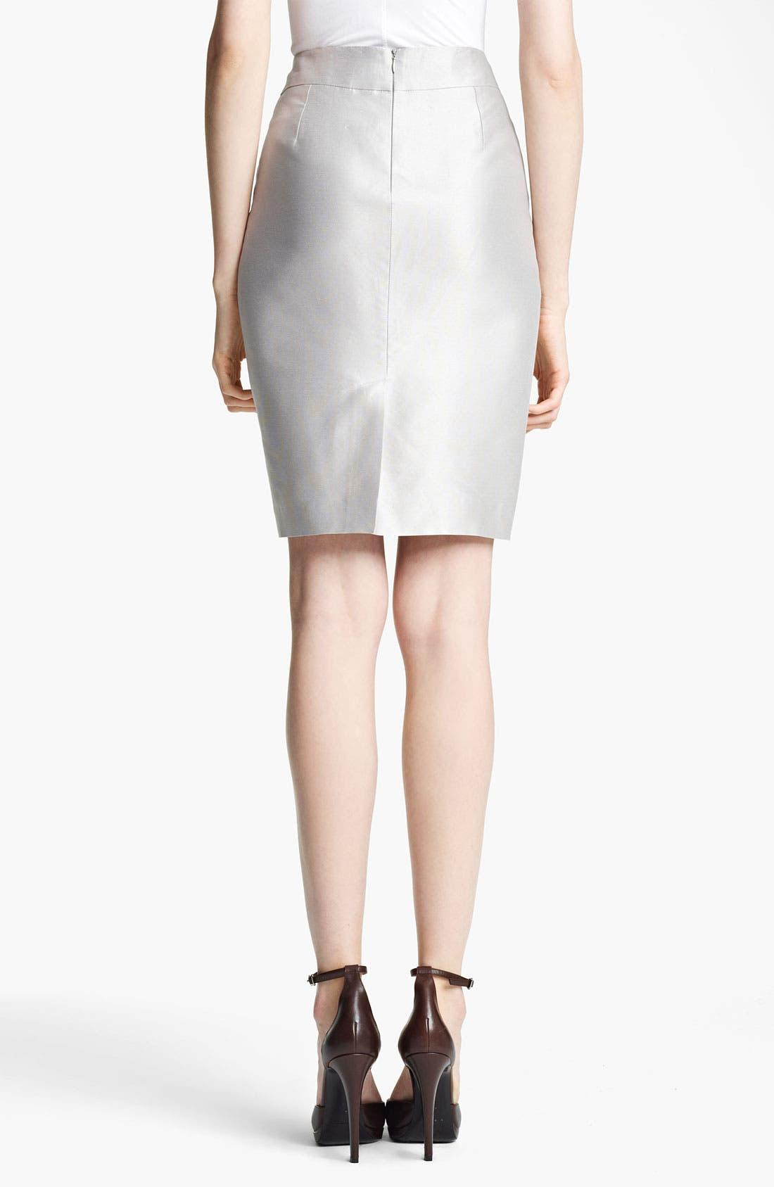 Alternate Image 2  - Armani Collezioni Straight Taffeta Skirt