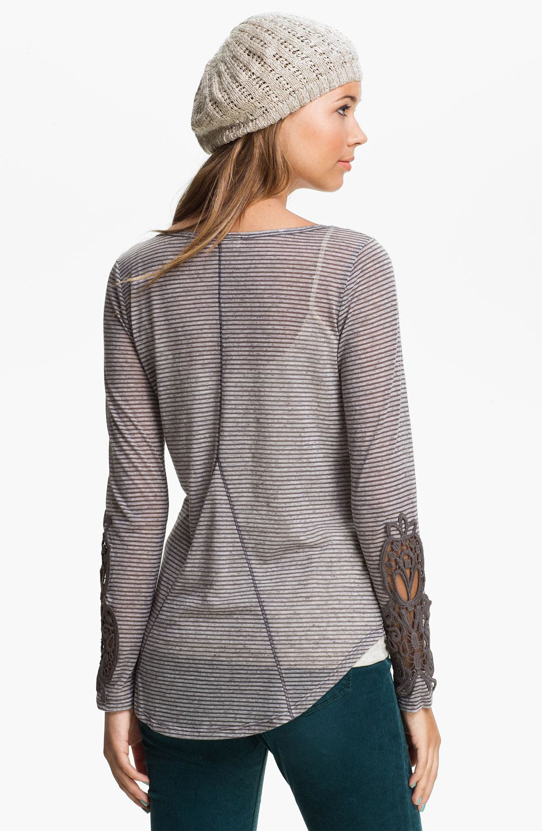 Alternate Image 2  - Painted Threads Crochet Sleeve Henley (Juniors)