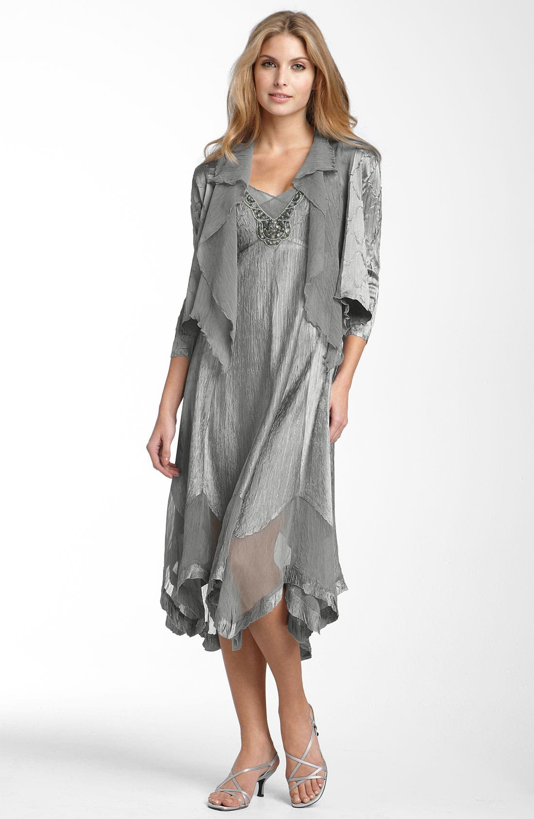 Main Image - Komarov Beaded Pleated Charmeuse Dress & Jacket (Regular & Petite)
