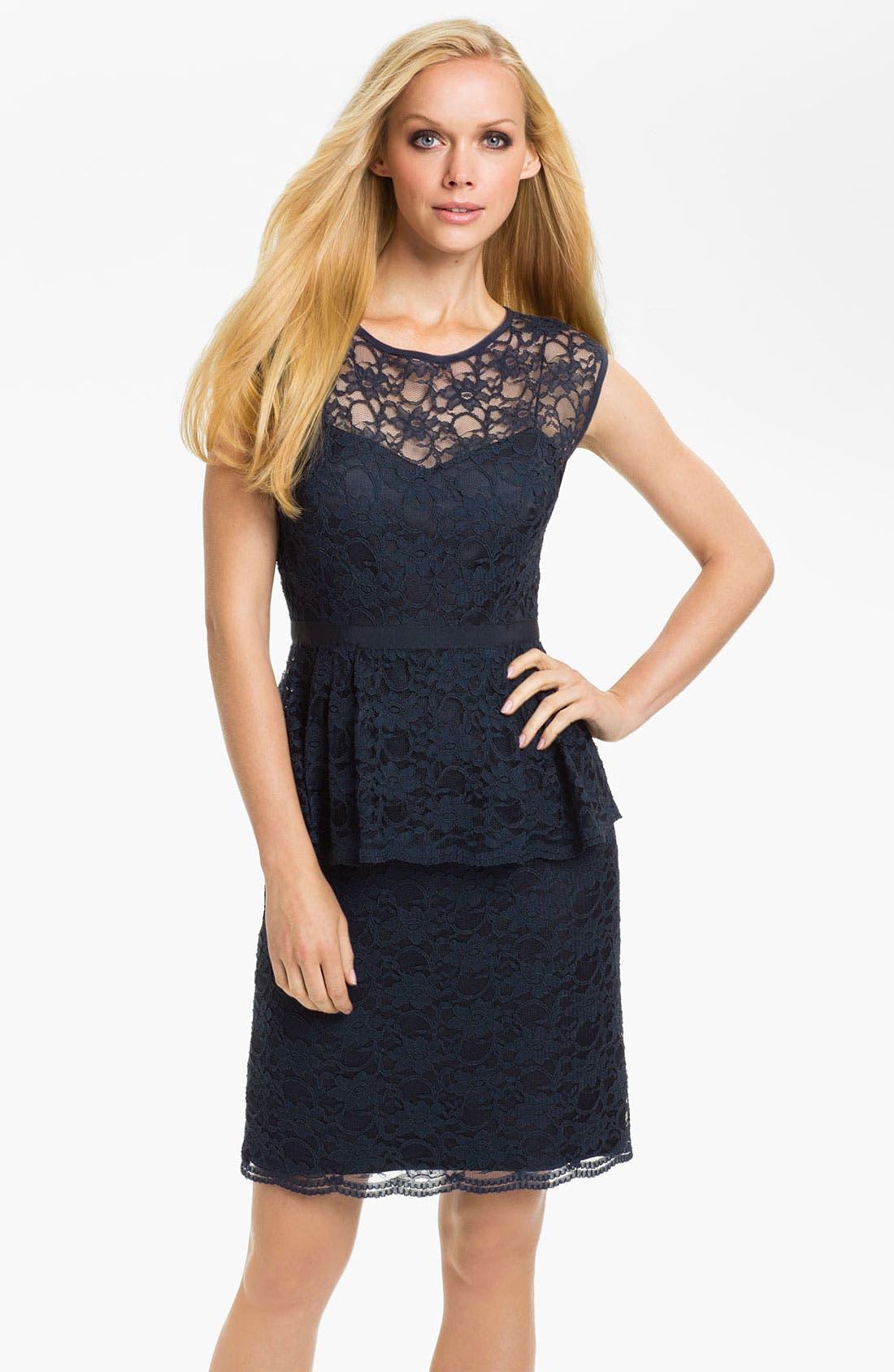 Alternate Image 1 Selected - Eliza J Peplum Lace Overlay Sheath Dress