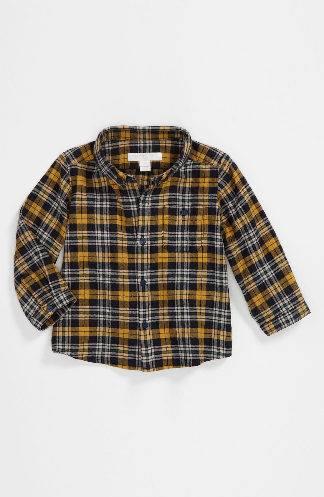 Main Image - Burberry Check Print Woven Shirt (Infant)