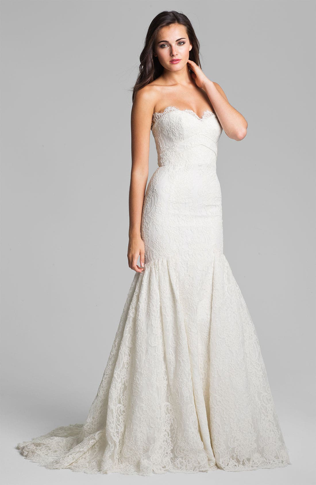 Main Image - Theia Strapless Embroidered Lace Trumpet Gown