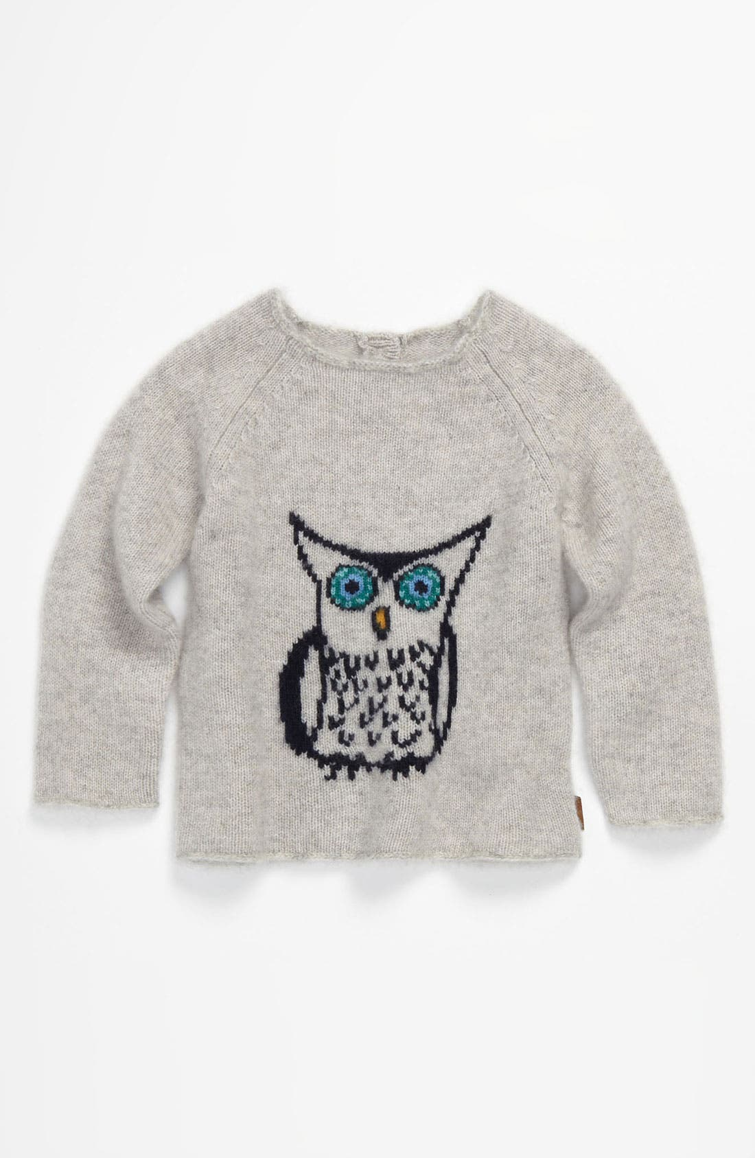 Main Image - Burberry Owl Intarsia Cashmere Sweater (Infant)