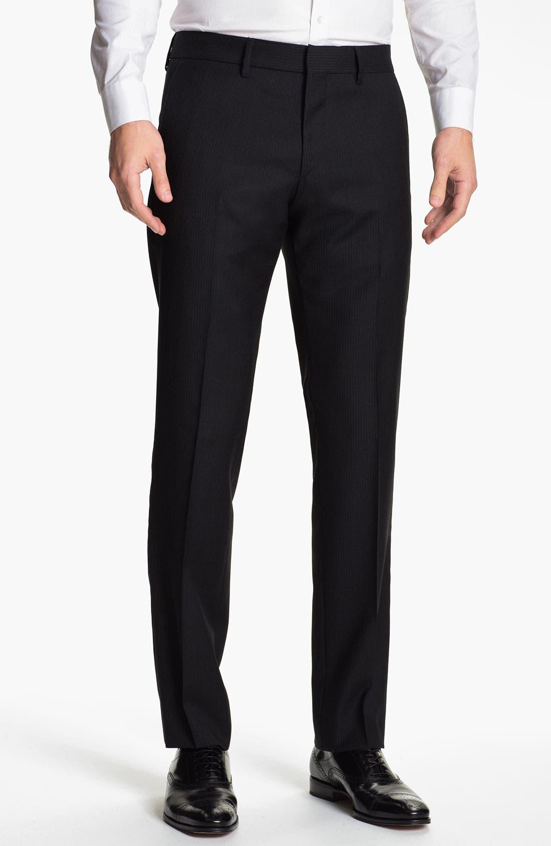 Main Image - BOSS Black 'Crigan' Pinstriped Flat Front Wool Trousers