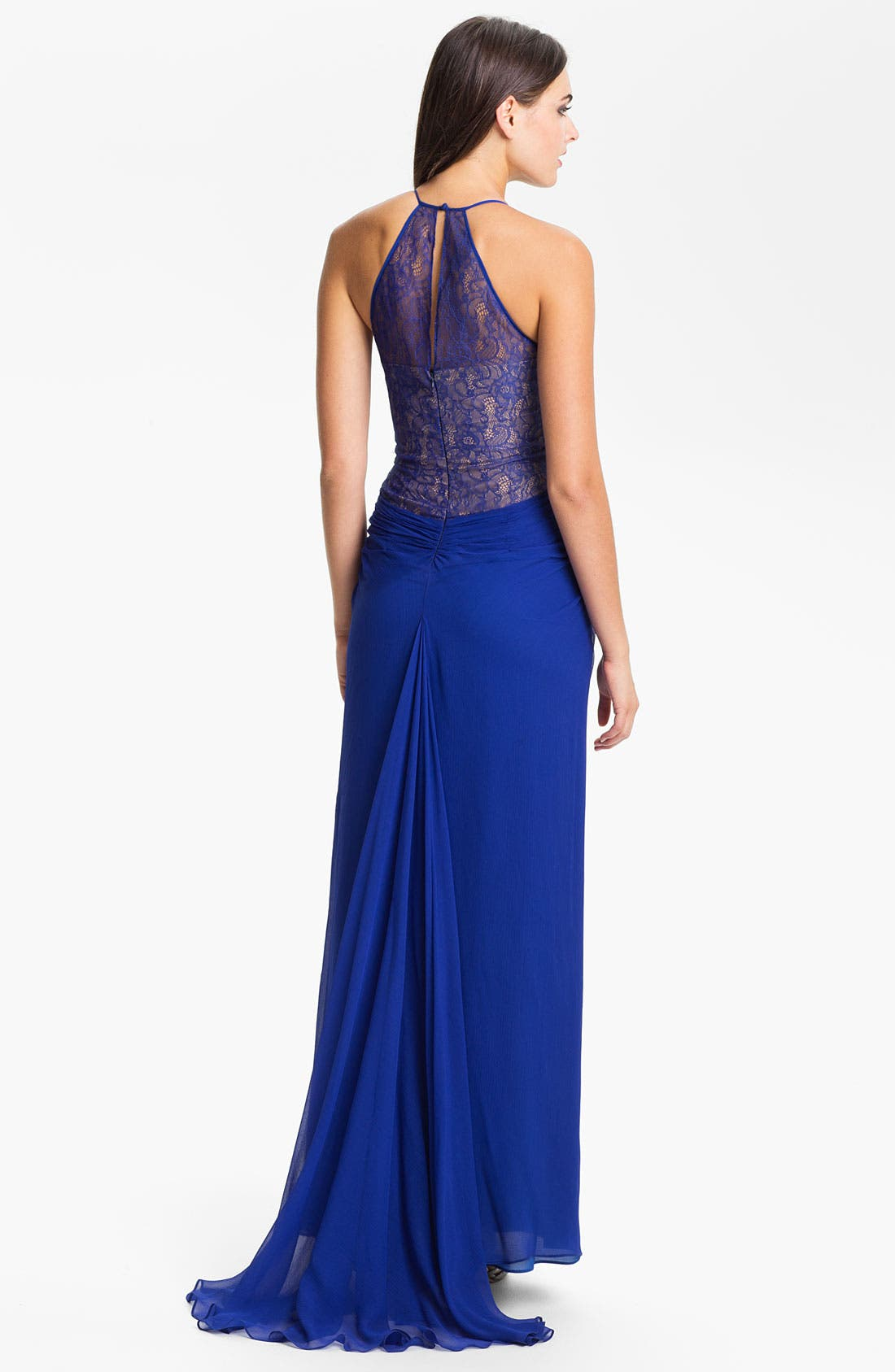 Alternate Image 2  - BCBGMAXAZRIA Lace Inset Textured Silk Chiffon Gown