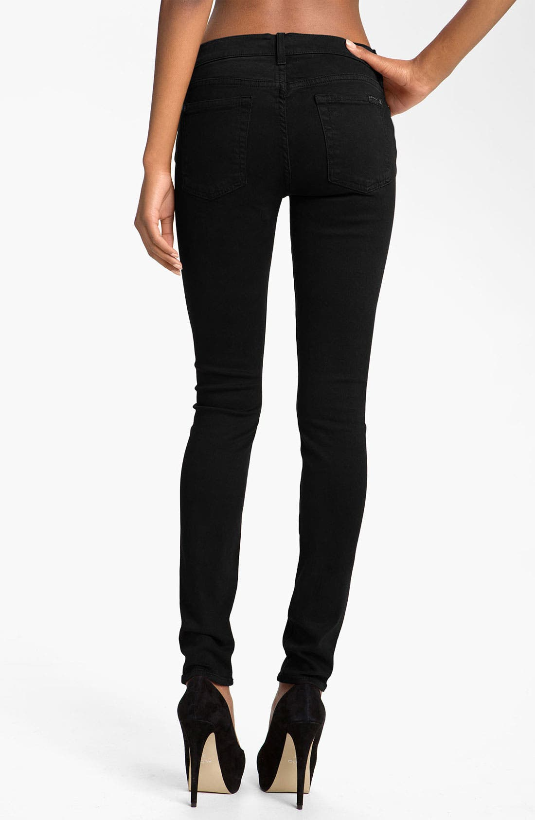 Alternate Image 2  - 7 For All Mankind® 'Slim Illusion' Overdyed Skinny Stretch Jeans (Black)