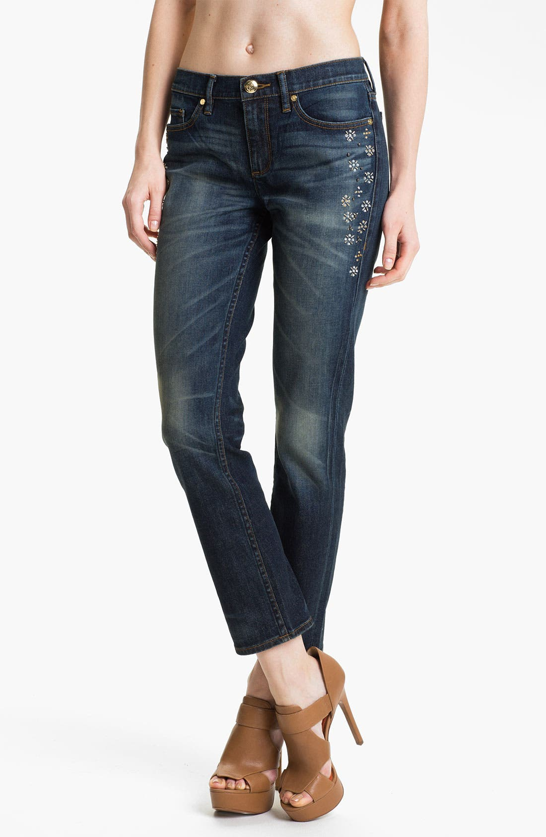 Main Image - Juicy Couture 'Straight Slouchy' Embellished Jeans (Bleeker)