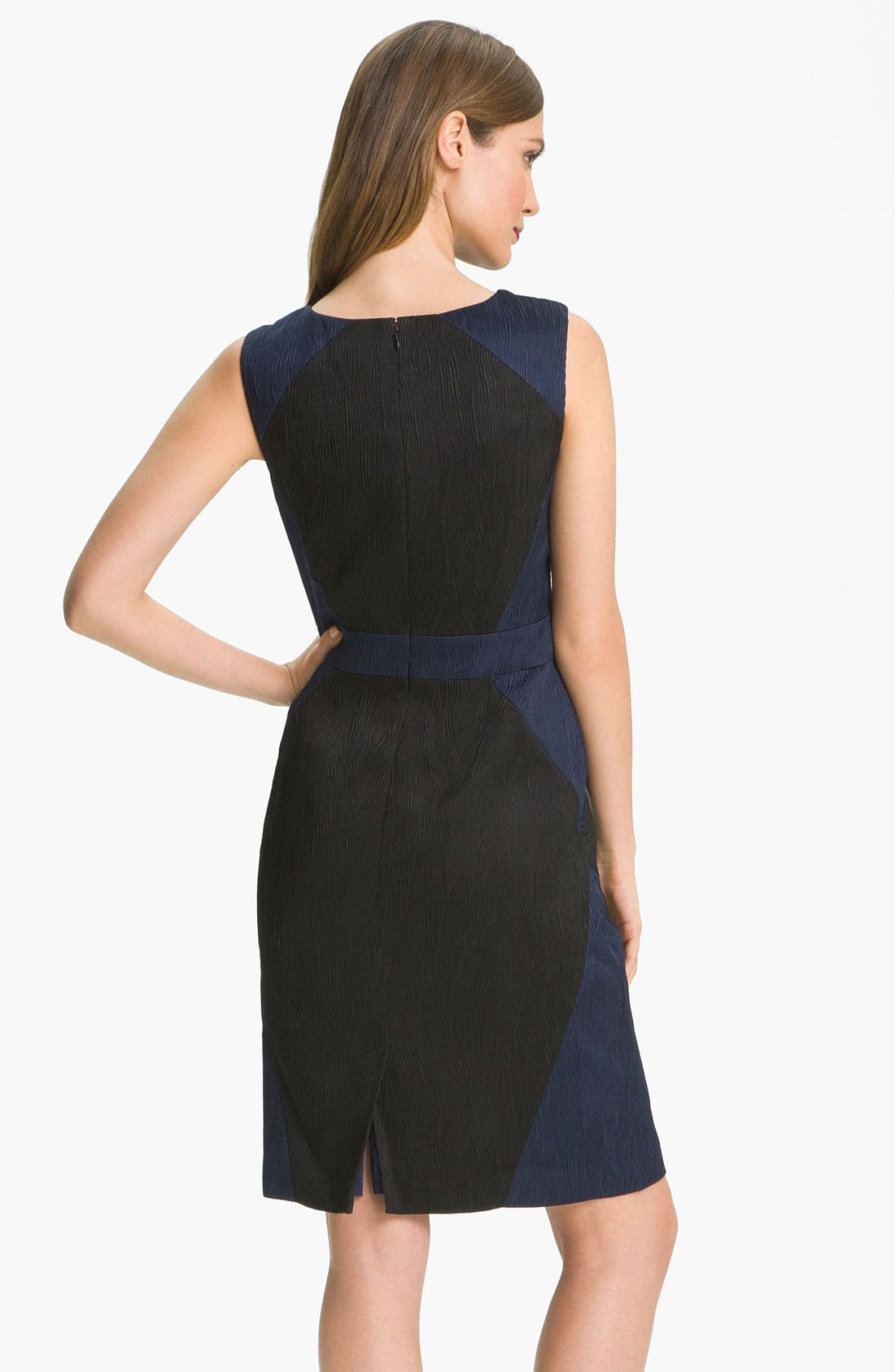 Alternate Image 2  - Adrianna Papell Colorblock Jacquard Sheath Dress (Petite)