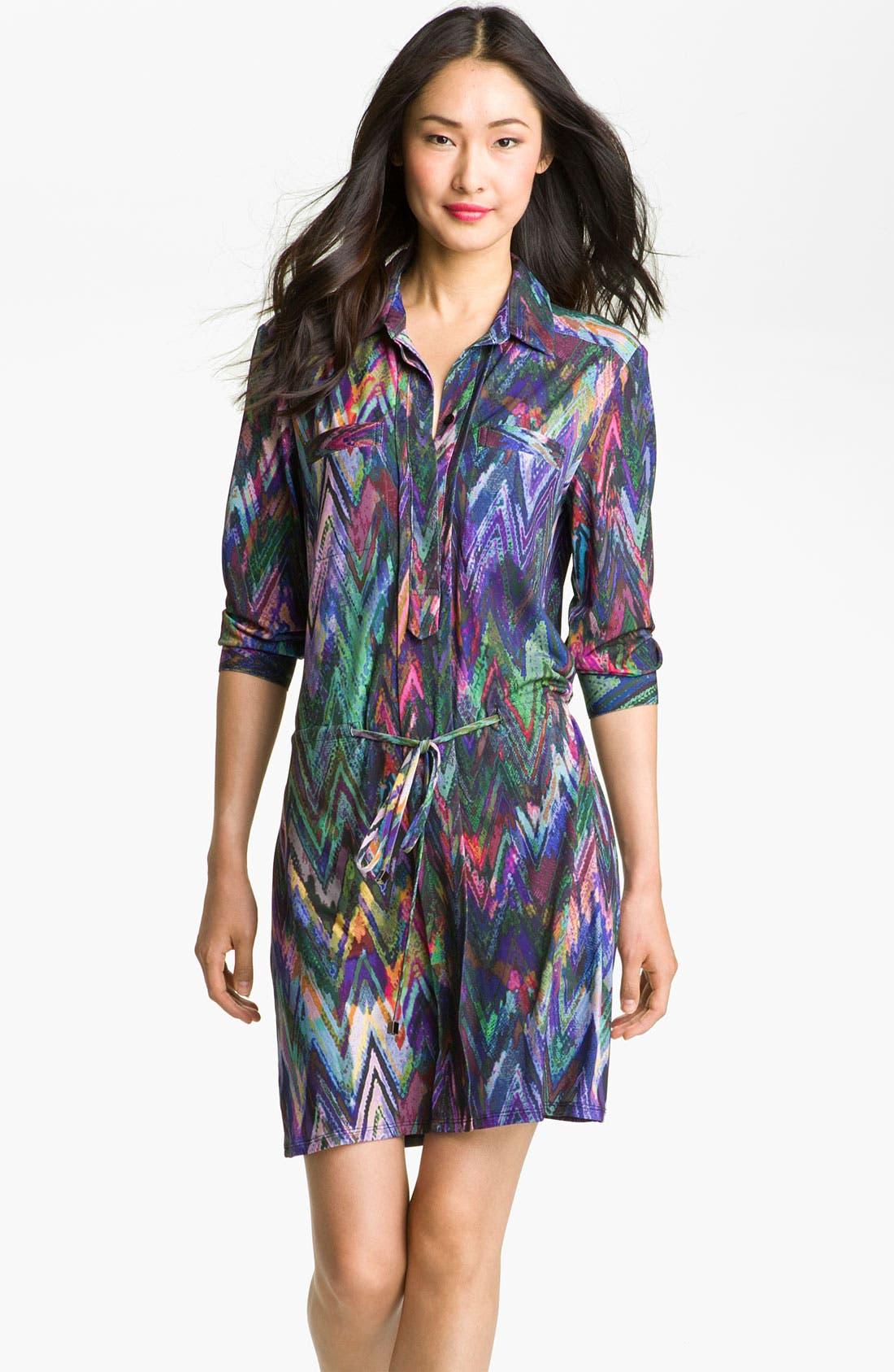 Main Image - Suzi Chin for Maggy Boutique Print Jersey Shirtdress (Petite)