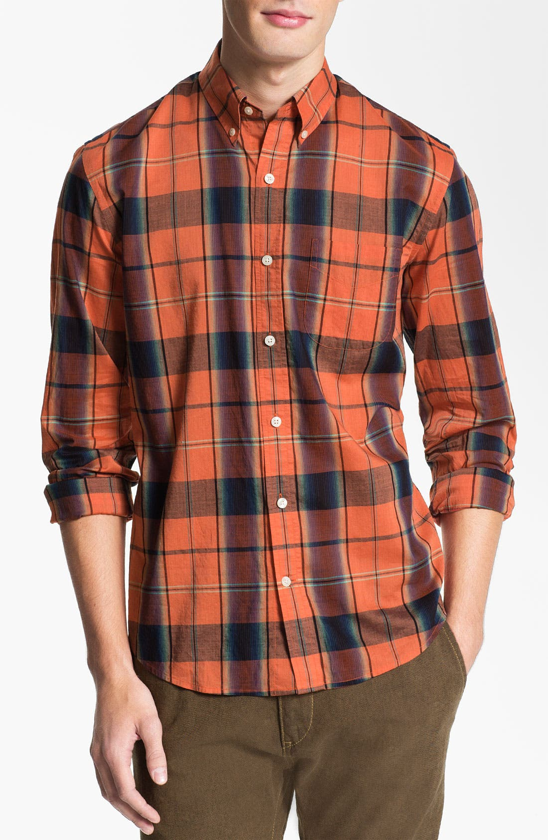 Alternate Image 1 Selected - Vince Bright Plaid Woven Shirt