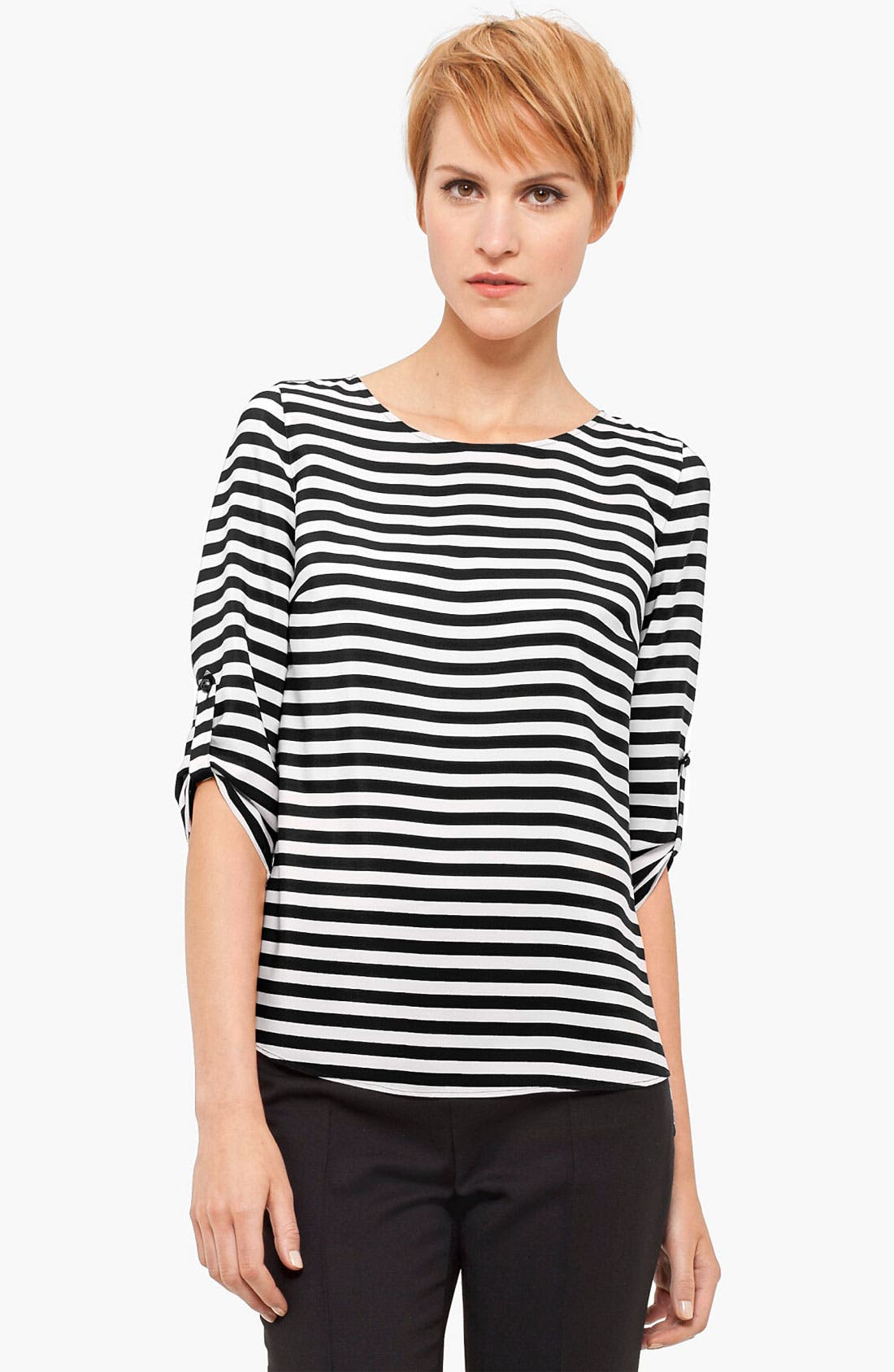 Alternate Image 1 Selected - Akris punto Stripe Silk Blouse
