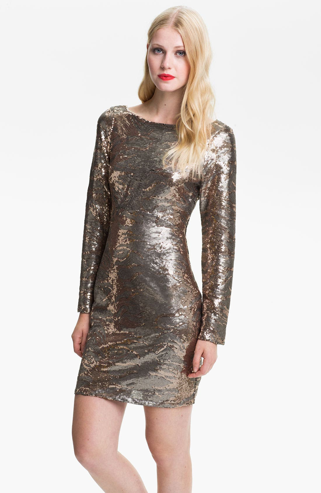 Main Image - Jessica Simpson Long Sleeve Sequin Sheath Dress