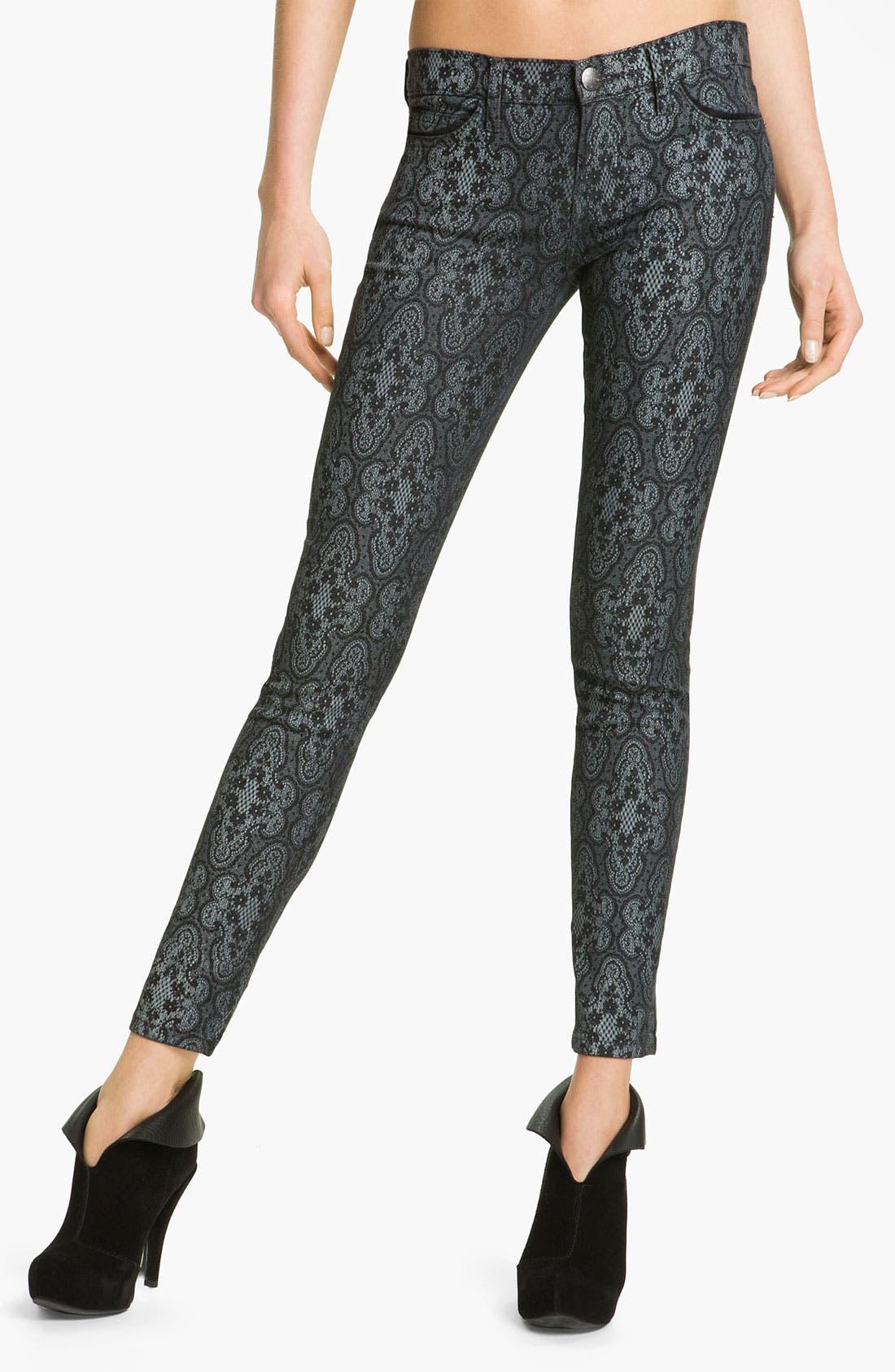 Alternate Image 1 Selected - Current/Elliott Print Stretch Skinny Jeans (Black Antique)